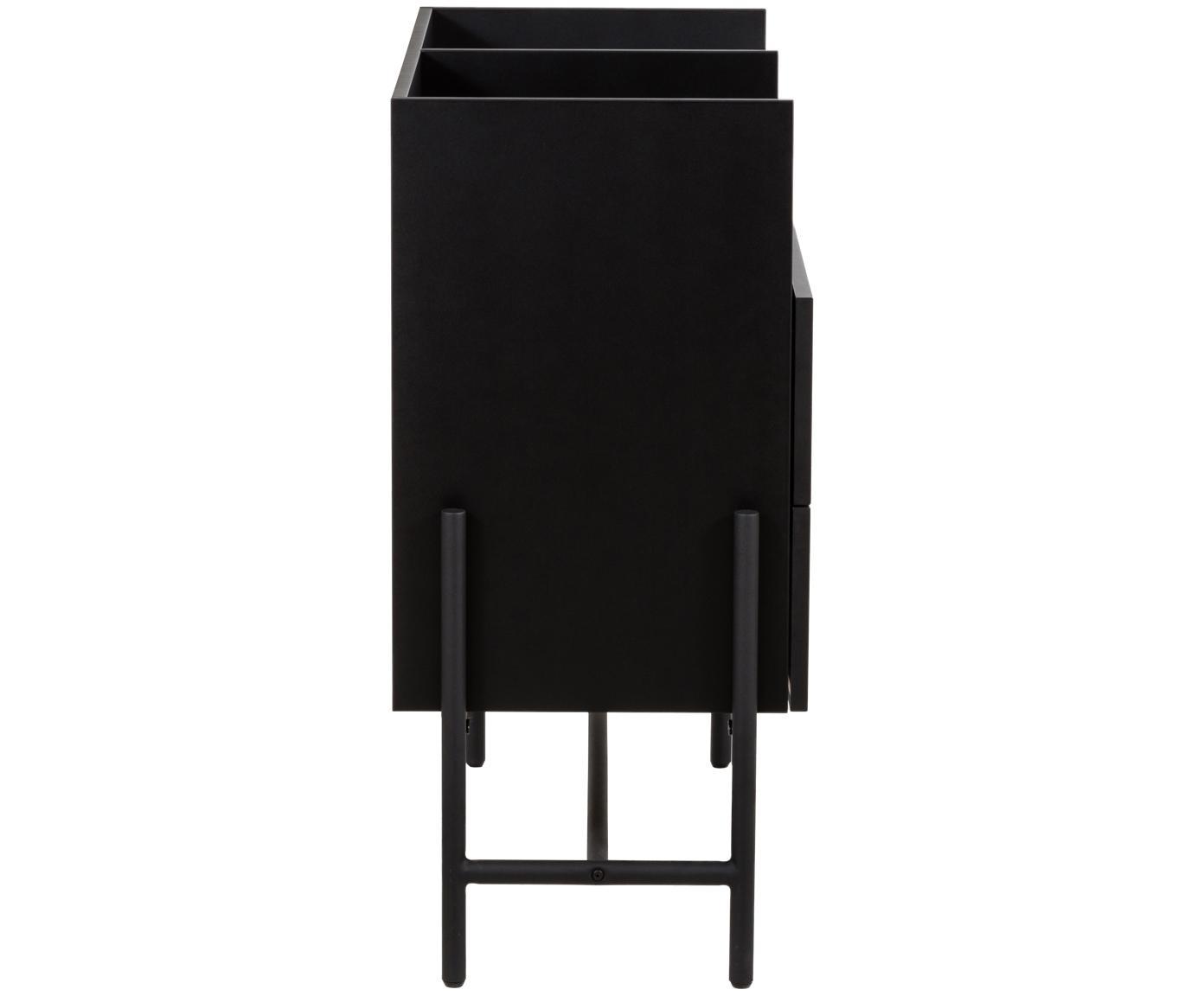 Ladekast Norse in zwart, Frame: gelakt MDF, Poten: gepoedercoat metaal, Zwart, 95 x 90 cm
