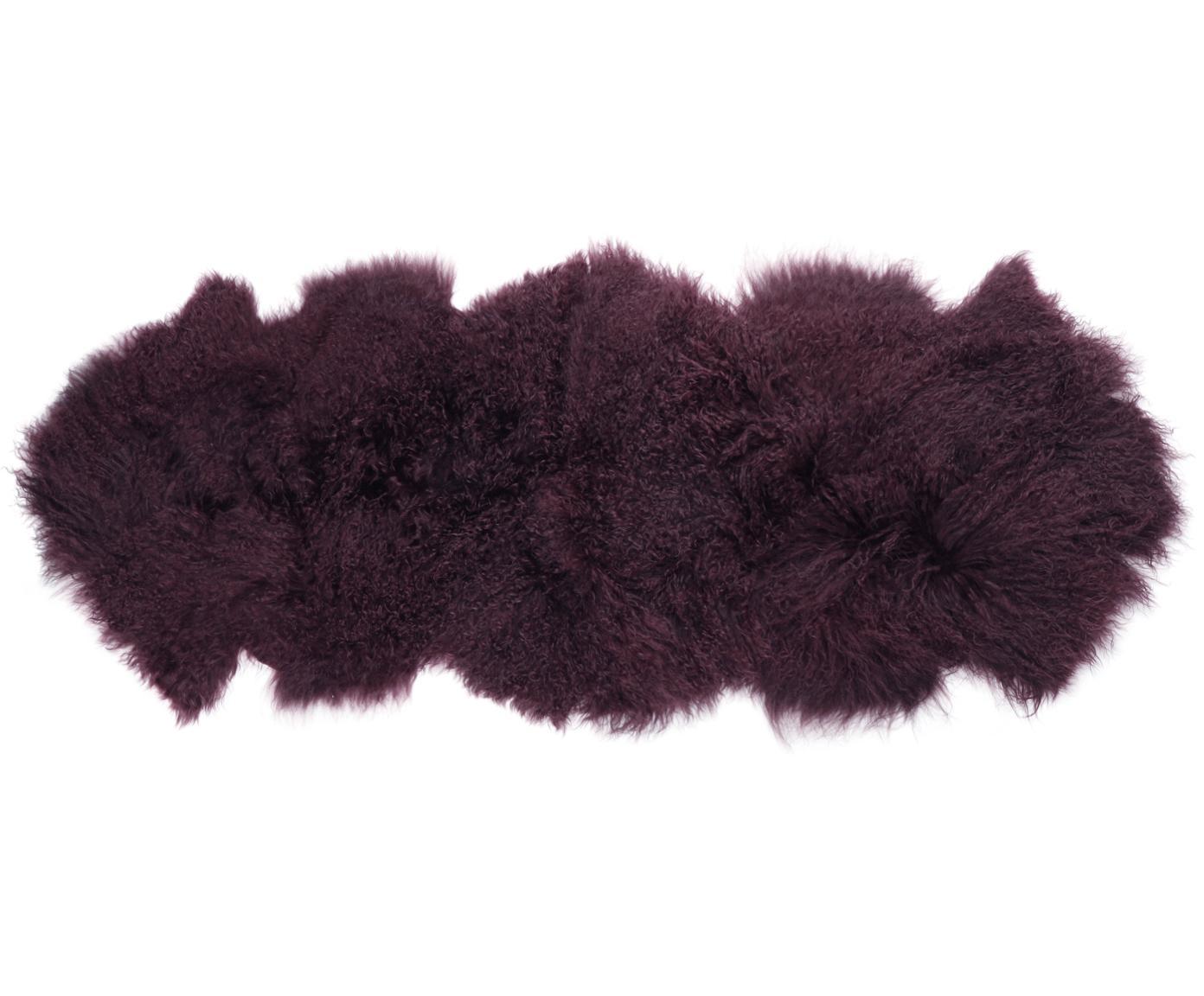 Langhaar-Lammfell Ella, gelockt, Vorderseite: 100% mongolisches Lammfel, Rückseite: 100% Leder, Dunkelrot, 50 x 160 cm
