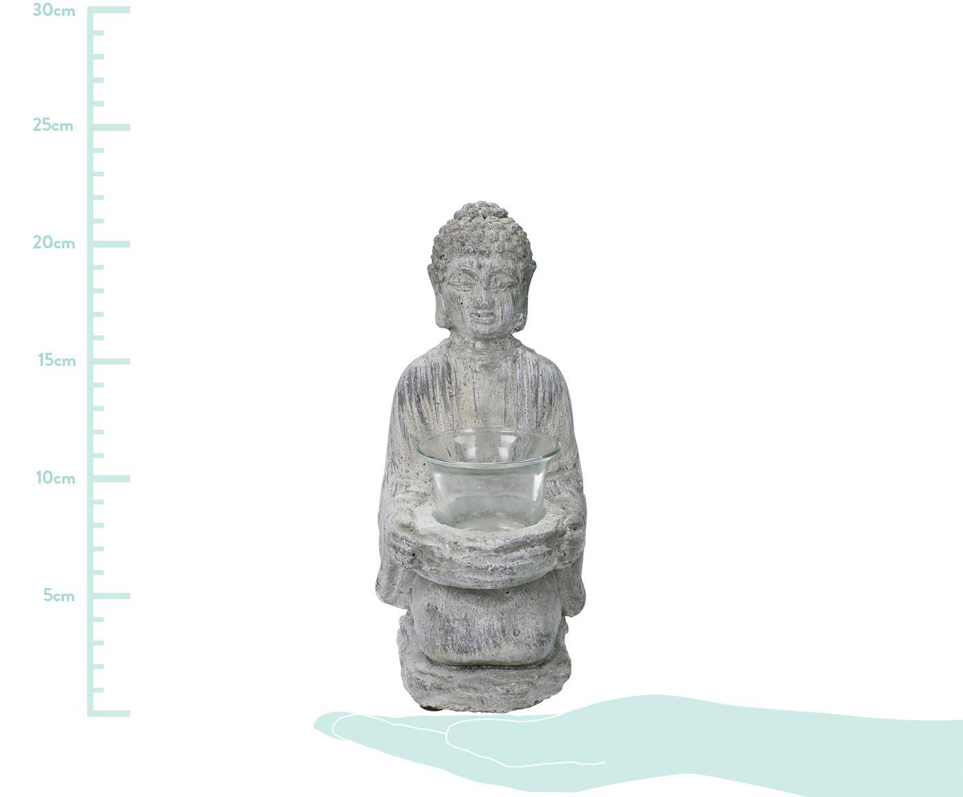 Świecznik Buddha, Szary, S 12 x W 22 cm