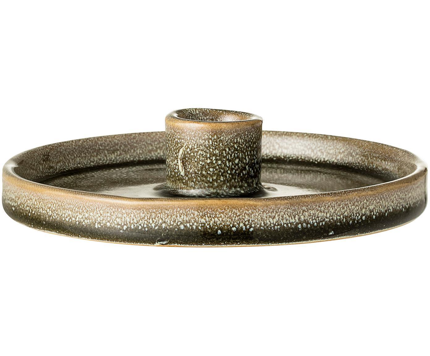 Ręcznie wykonany świecznik Bosse, Kamionka, Zielony, brązowy, Ø 15 x W 3 cm