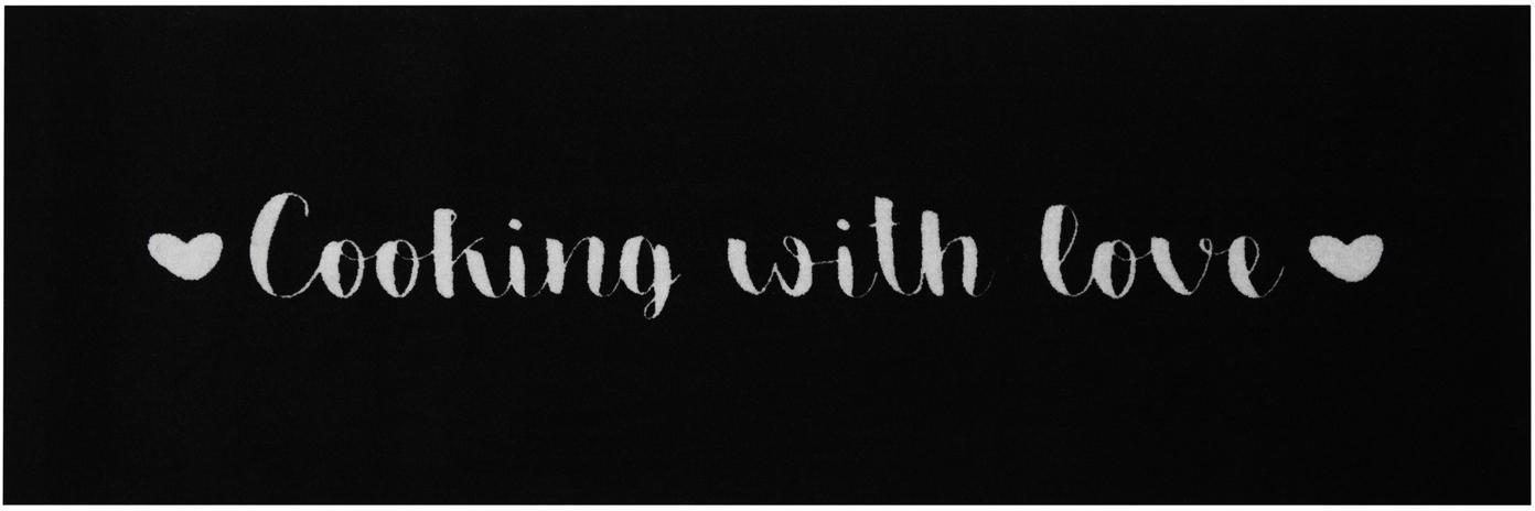 Chodnik Cooking with Love, Czarny, biały, S 50 x D 150 cm
