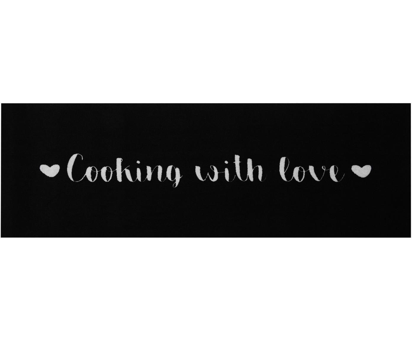 Waschbarer Küchenläufer Cooking with Love, rutschfest, Oberseite: 100% Polyamid, Unterseite: Gummi, Schwarz, Weiss, 50 x 150 cm
