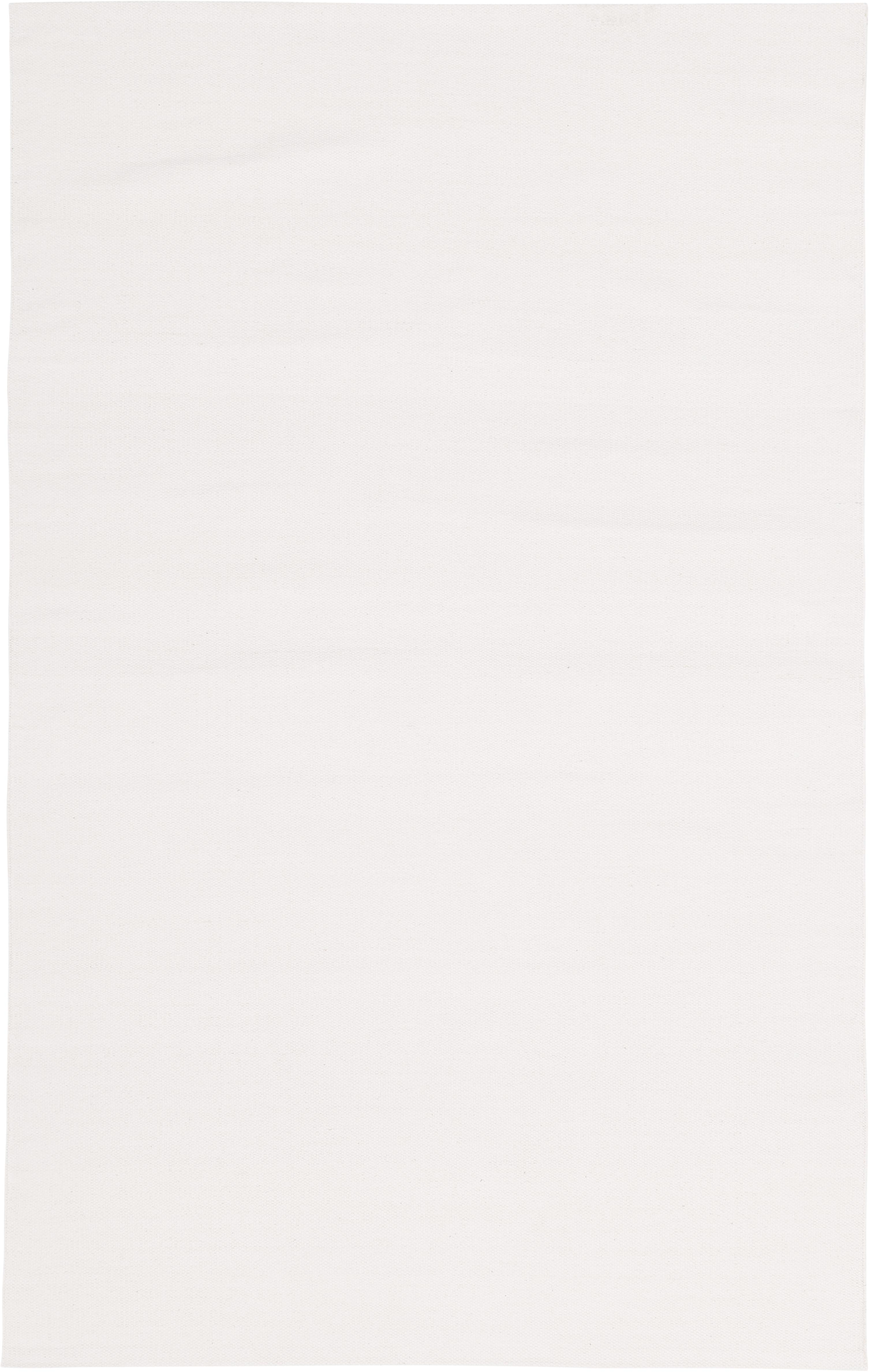Dünner Baumwollteppich Agneta, handgewebt, 100% Baumwolle, Cremeweiß, B 50 x L 80 cm (Größe XXS)
