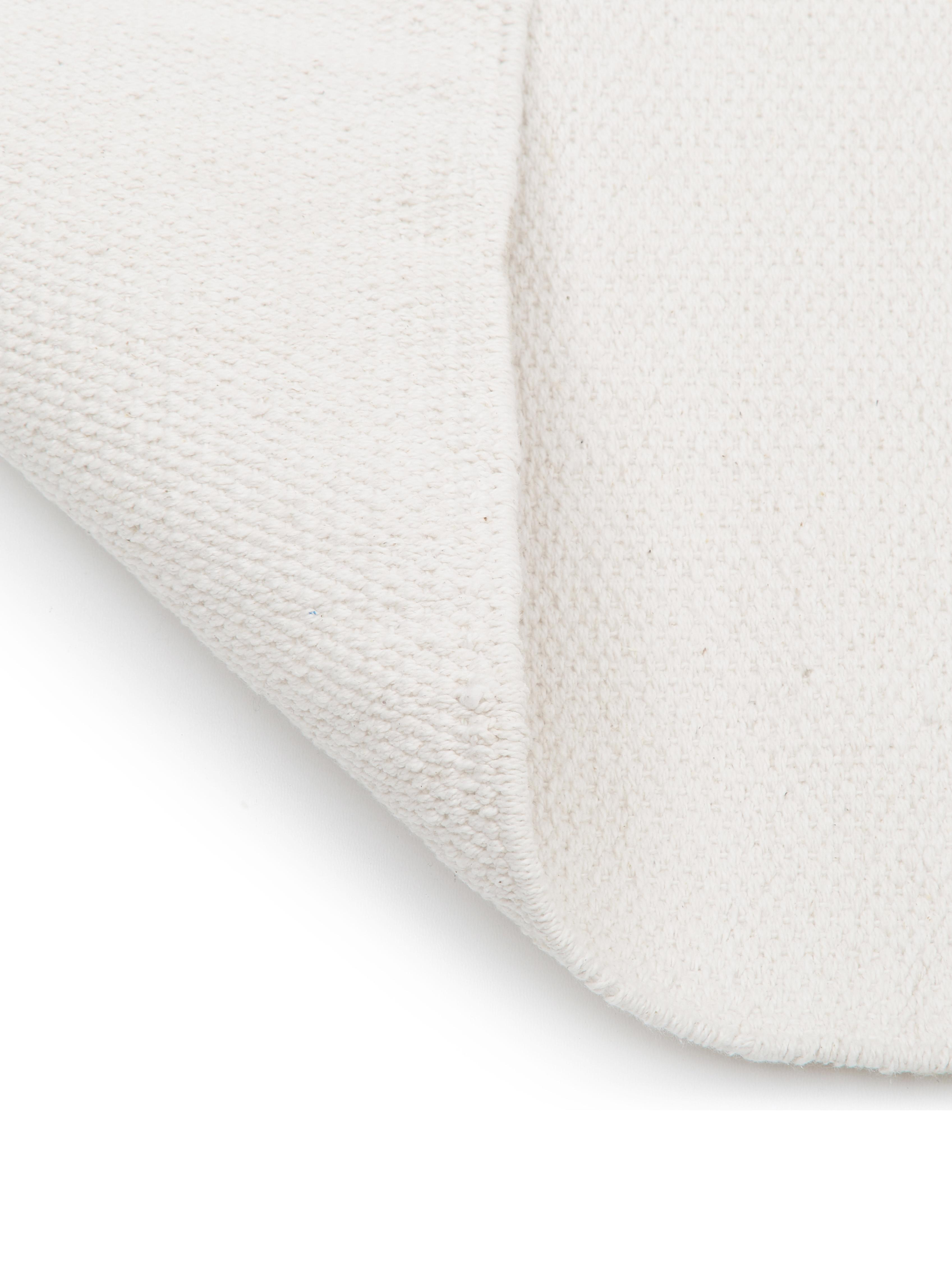 Dünner Baumwollteppich Agneta, handgewebt, 100% Baumwolle, Cremeweiß, B 160 x L 230 cm (Größe M)