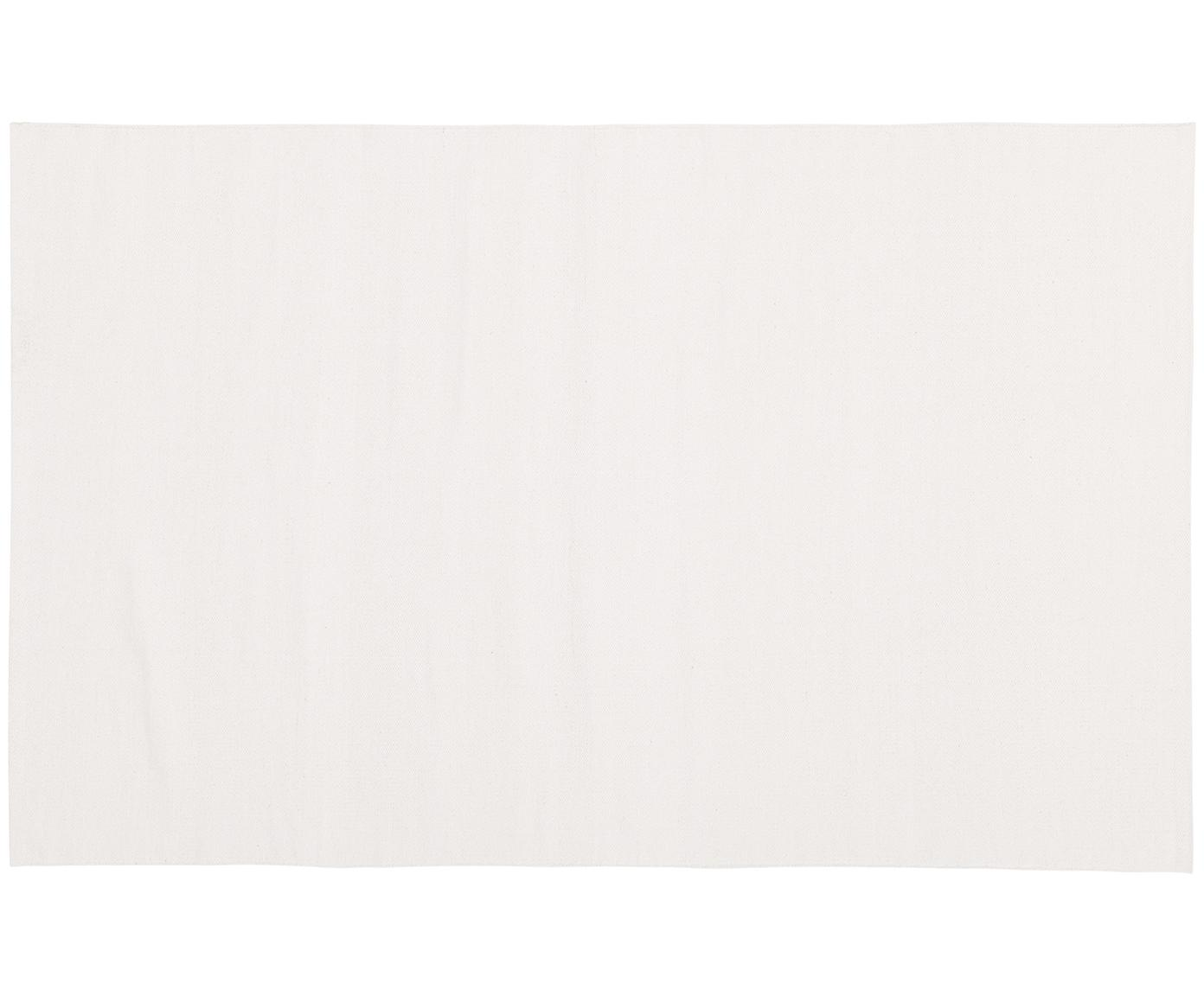 Dun handgeweven katoenen vloerkleed Agneta, Katoen, Crèmewit, B 50 x L 80 cm (maat XXS)