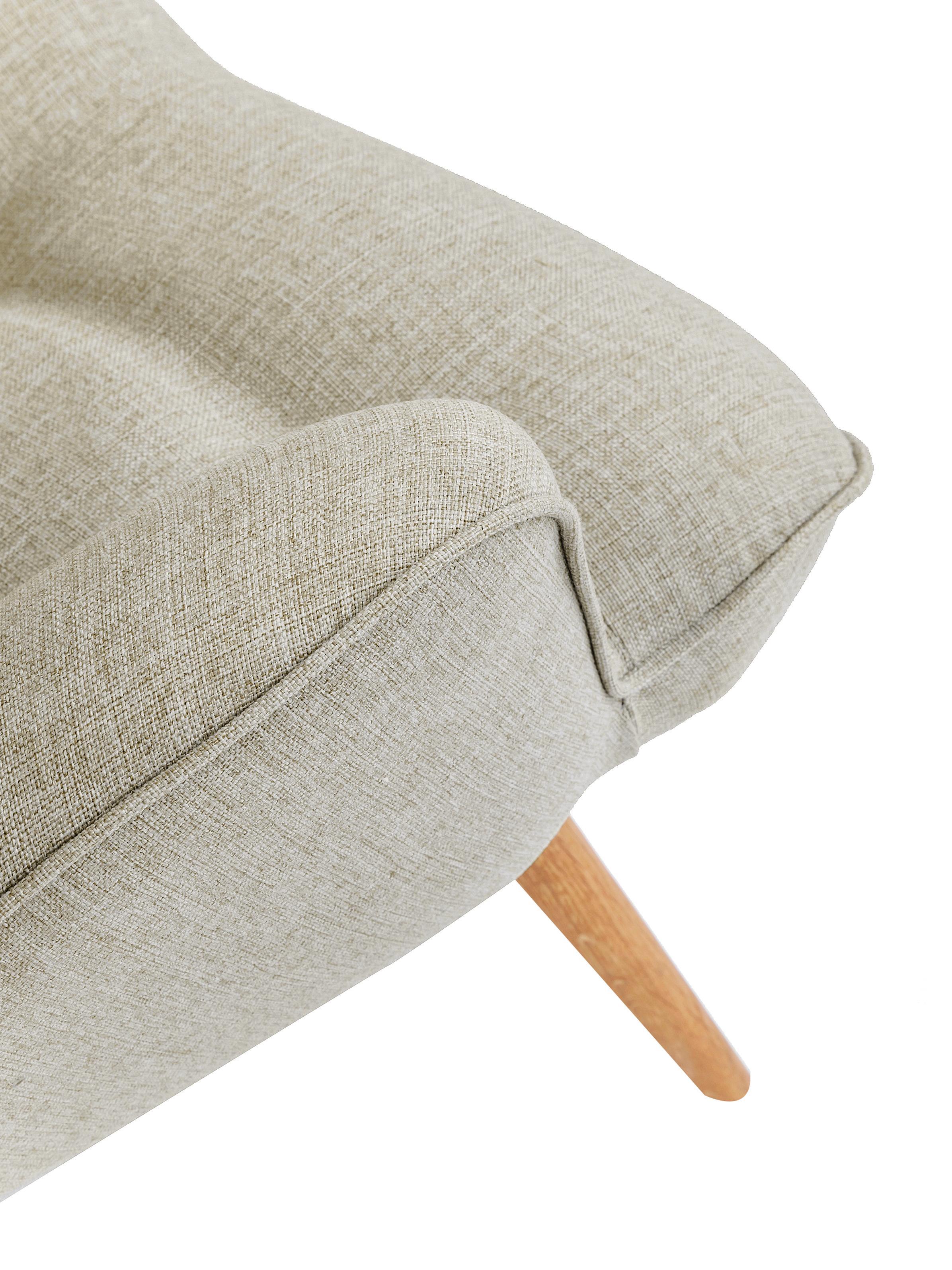Poltrona ad ala crema Vicky, Rivestimento: poliestere 50.000 cicli d, Gambe: legno di quercia, massicc, Color crema tessuto intrecciato, Larg. 59 x Prof. 63 cm