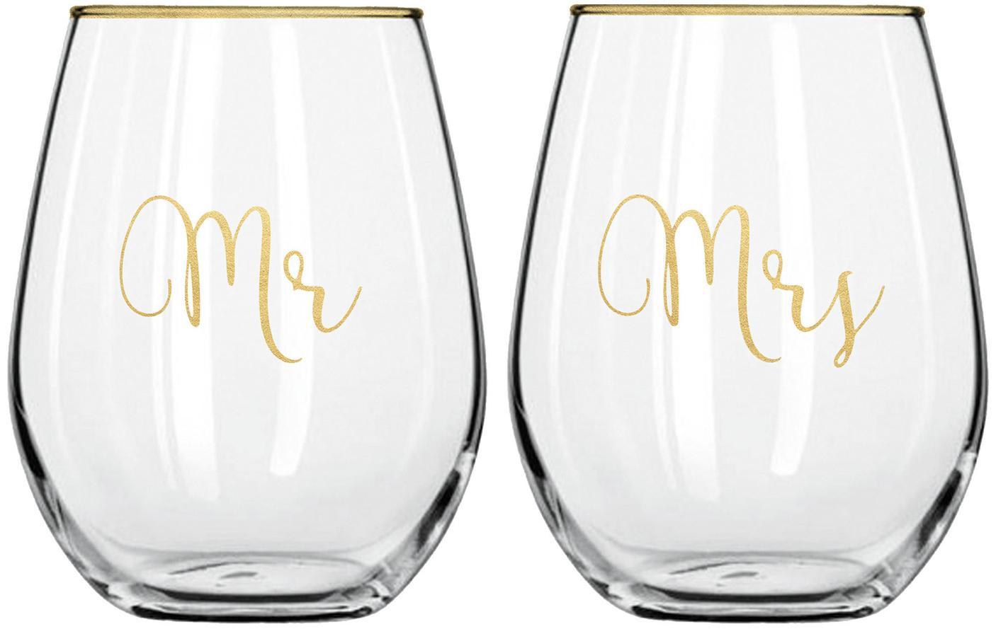 Glazenset Mr and Mrs met gouden opschrift, 2-delig, Glas, Transparant, goudkleurig, Ø 10 x H 13 cm