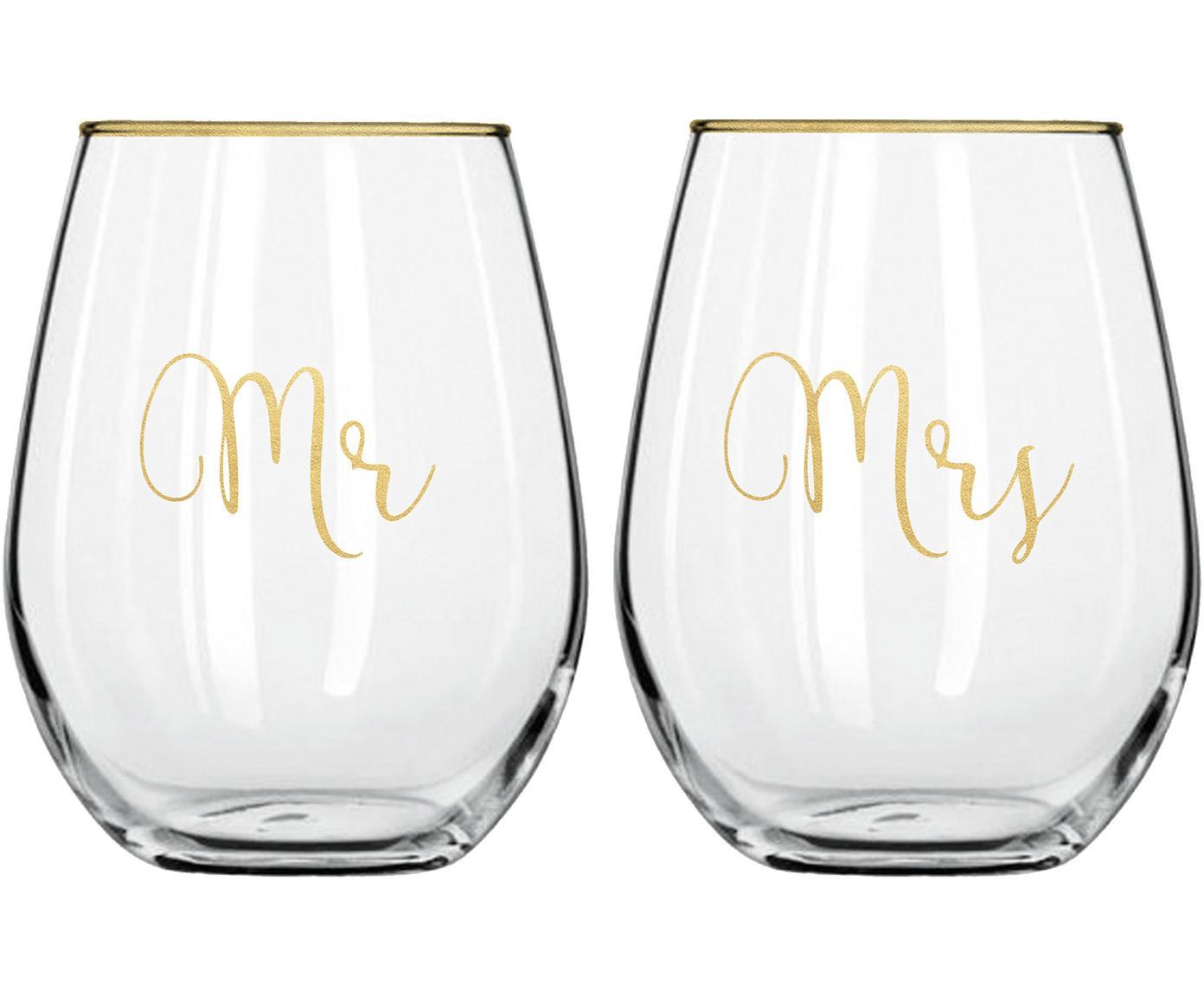 Vasos Mr and Mrs, 2uds., Vidrio, Transparente, dorado, Ø 10 x Al 13 cm