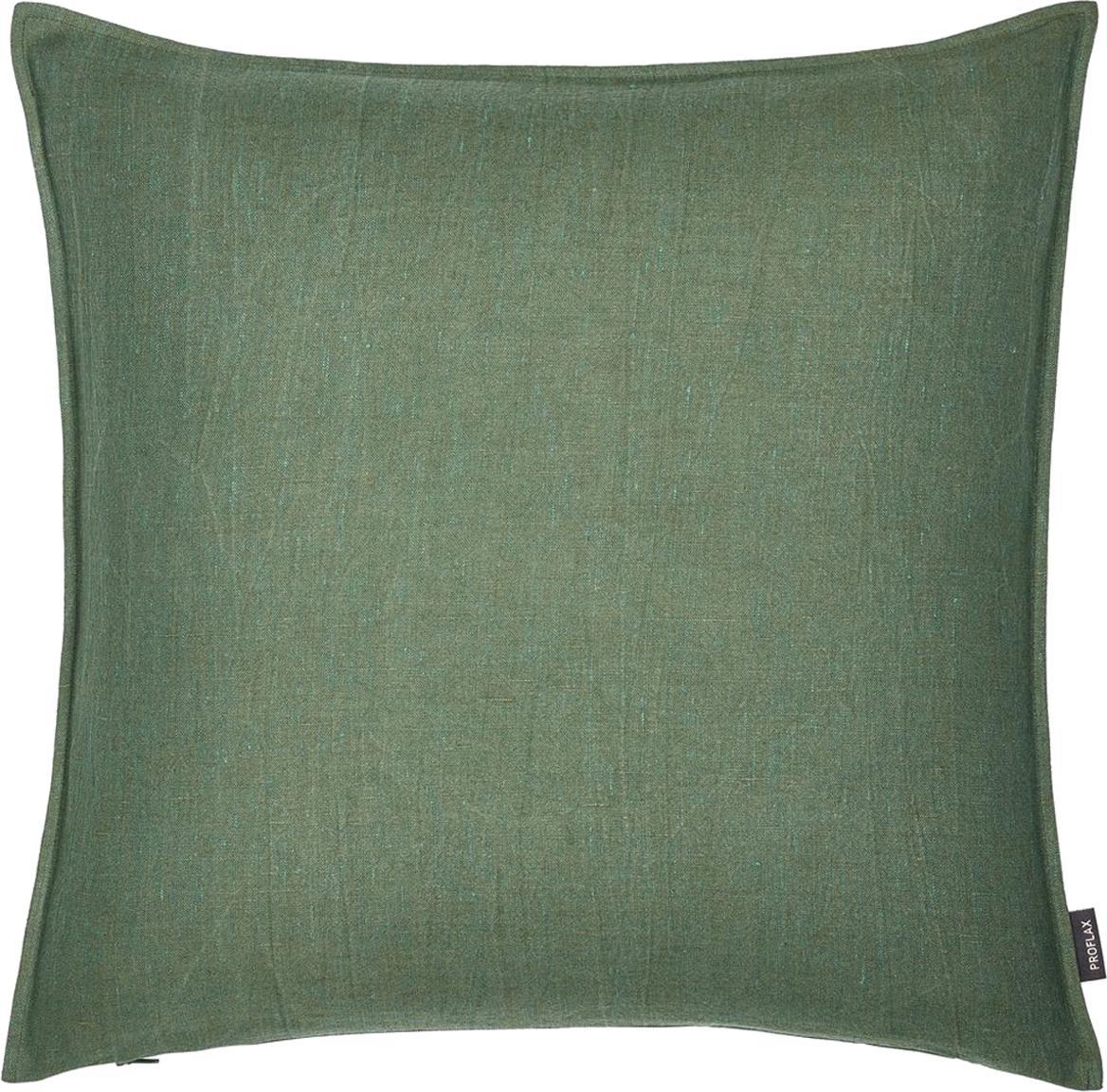 Funda de cojín de lino Sven, 100%lino, Verde oscuro, An 40 x L 40 cm