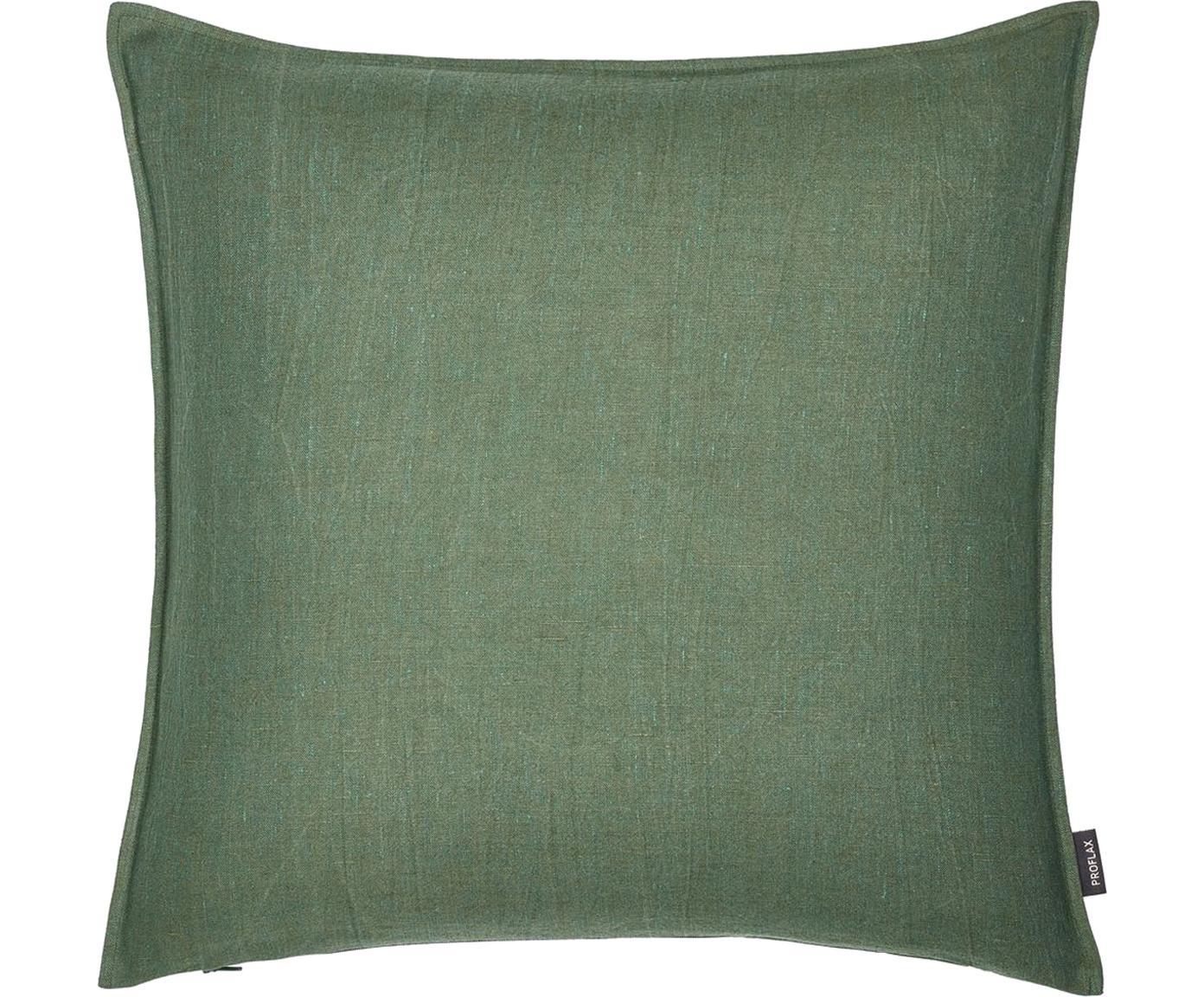 Poszewka na poduszkę z lnu z efektem sprania Sven, Len, Tapicerka: ciemnozielony Nogi: czarny, matowy, S 60 x D 60 cm