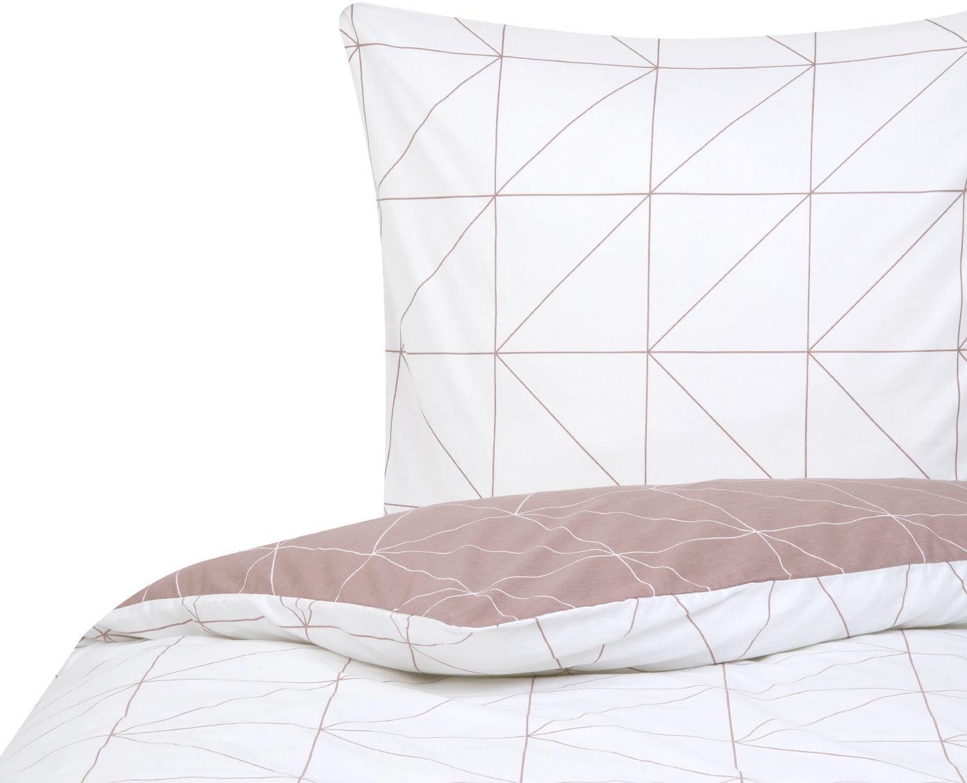 Baumwoll-Wendebettwäsche Marla mit grafischem Muster, Webart: Renforcé Fadendichte 144 , Mauve, Weiss, 135 x 200 cm + 1 Kissen 80 x 80 cm