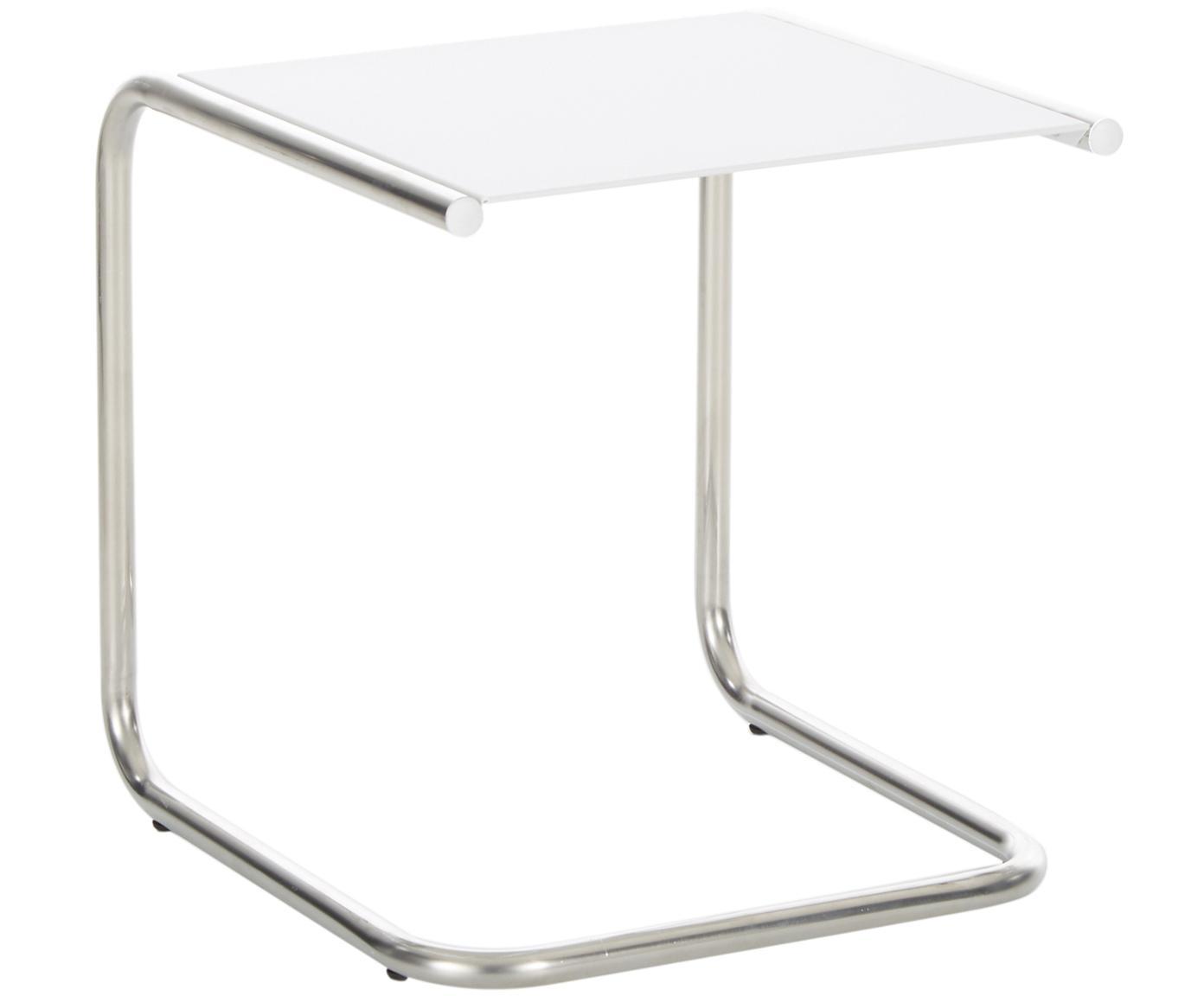 Mesa auxiliar de exterior de metal Club, Tablero: metal con pintura en polv, Estructura: aluminio pulido, Blanco, aluminio, An 40 x F 40 cm