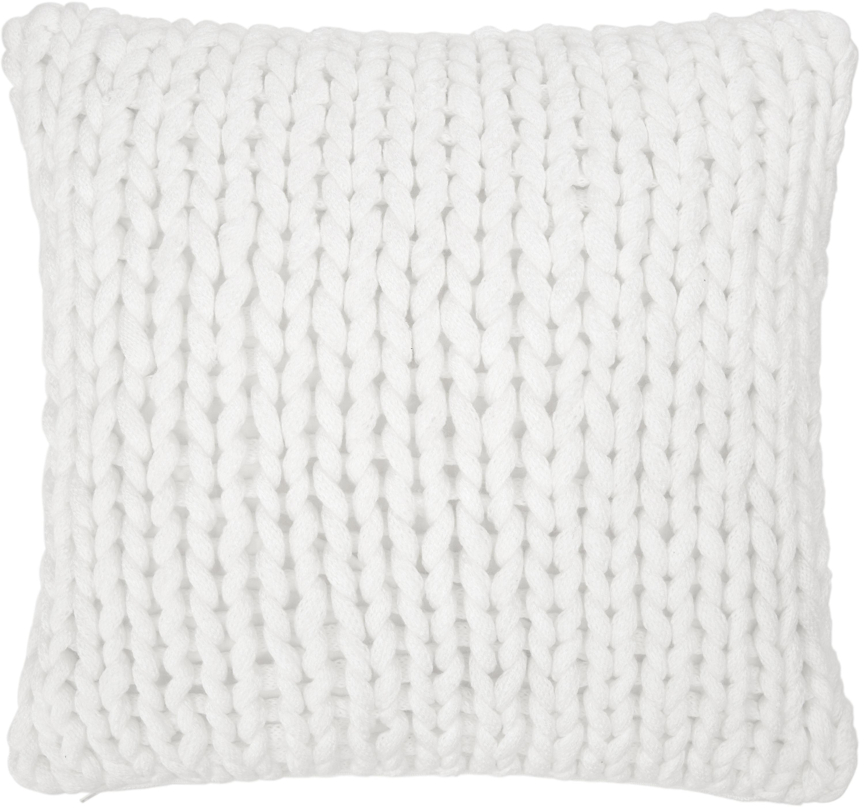 Federa arredo a maglia grossa bianca Adyna, 100% poliacrilico, Bianco crema, Larg. 45 x Lung. 45 cm