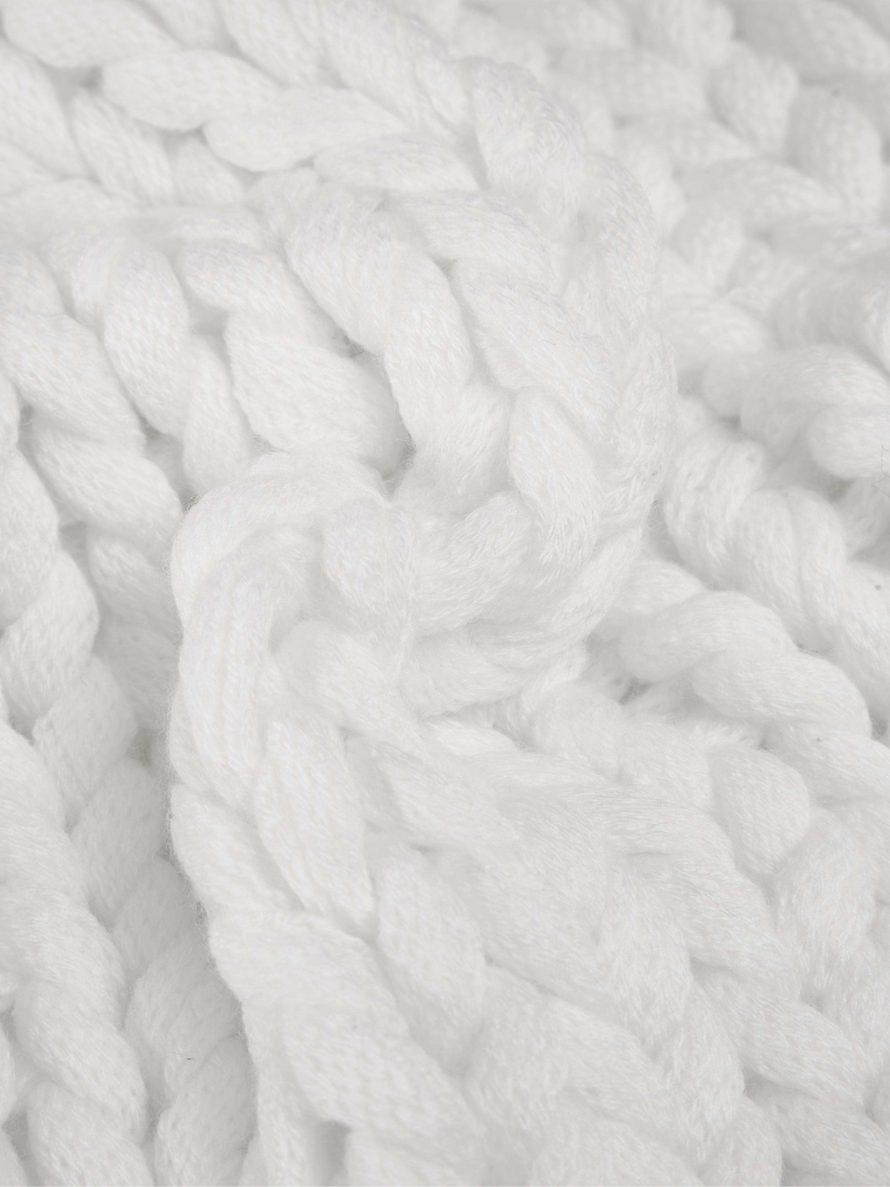 Grobstrick-Kissenhülle Adyna in Weiss, 100% Polyacryl, Cremeweiss, 45 x 45 cm