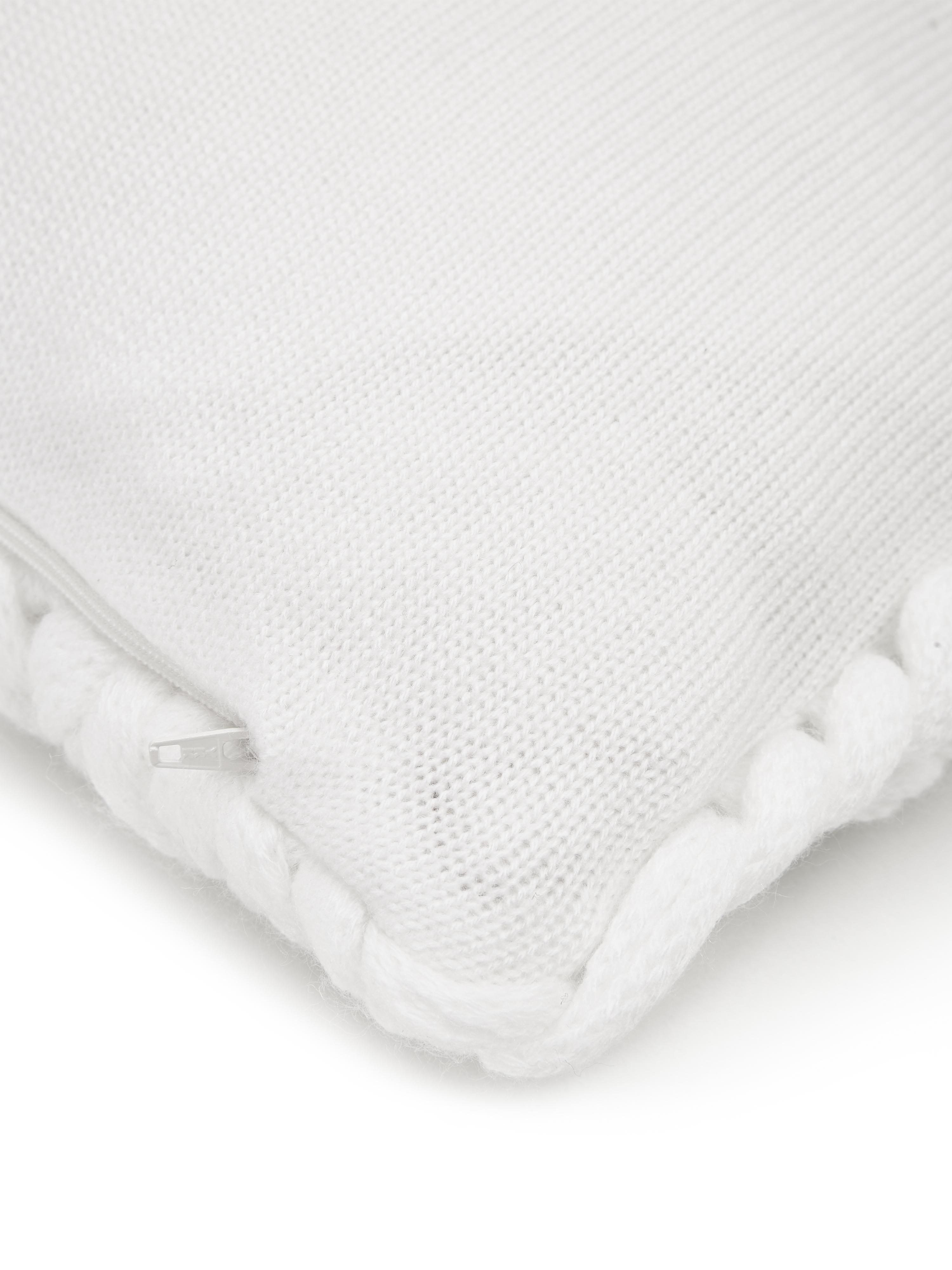 Grofgebreide kussenhoes Adyna in wit, 100% polyacryl, Crèmewit, 45 x 45 cm
