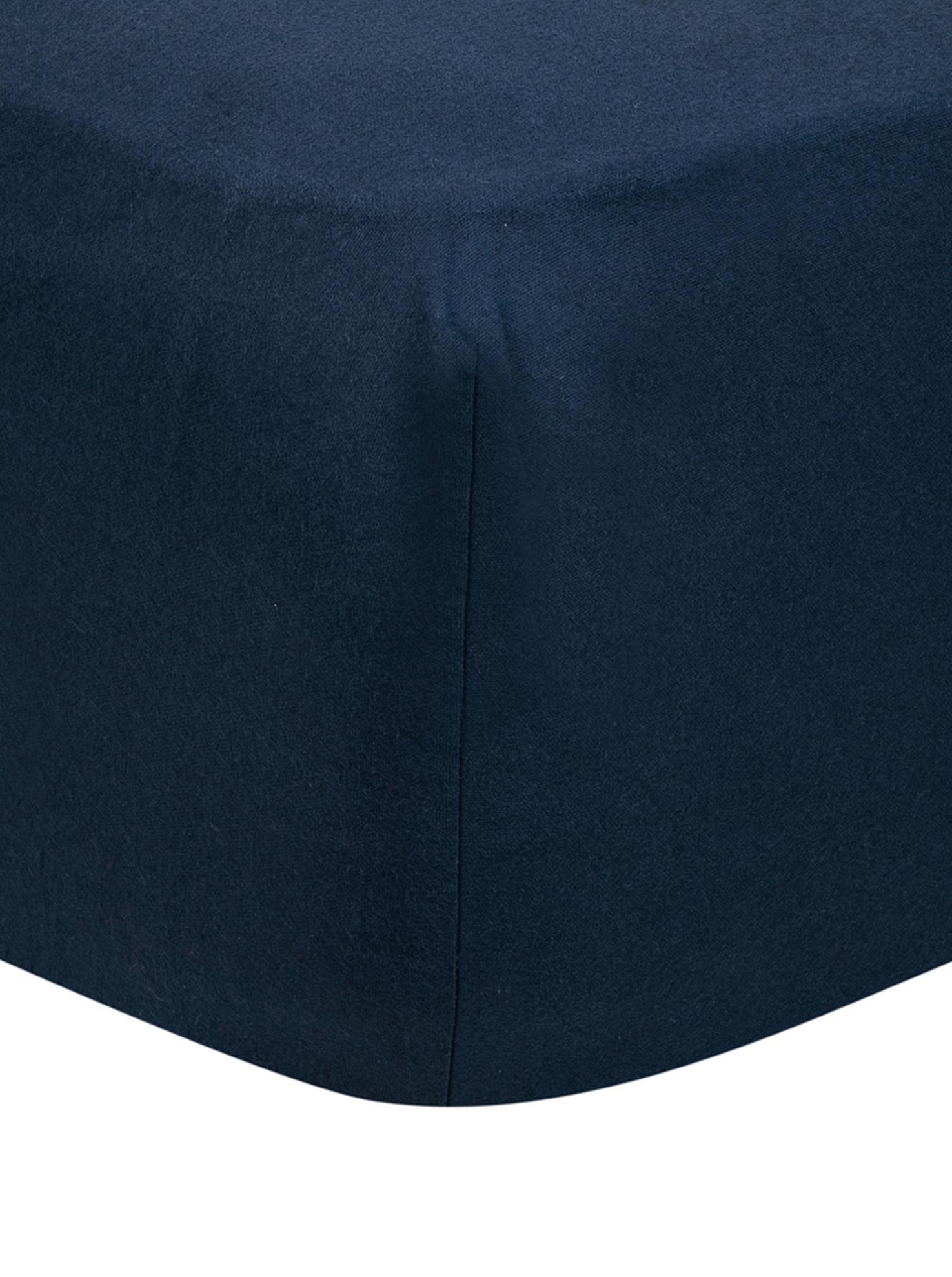 Hoeslaken Biba in marineblauw, flanel, Weeftechniek: flanel, Marineblauw, 90 x 200 cm