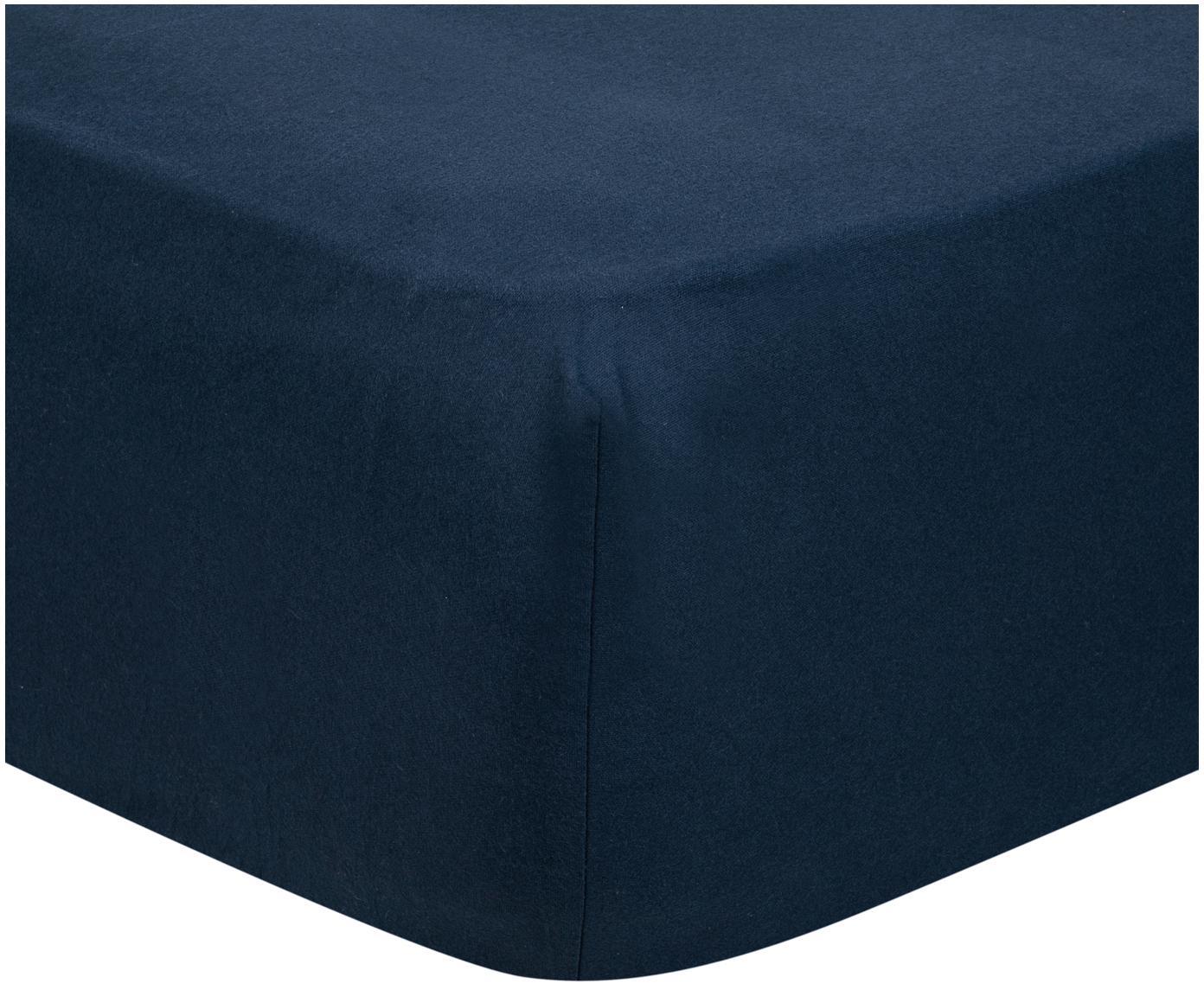 Lenzuolo con angoli in flanella Biba, Tessuto: flanella, Blu navy, Larg. 90 x Lung. 200 cm