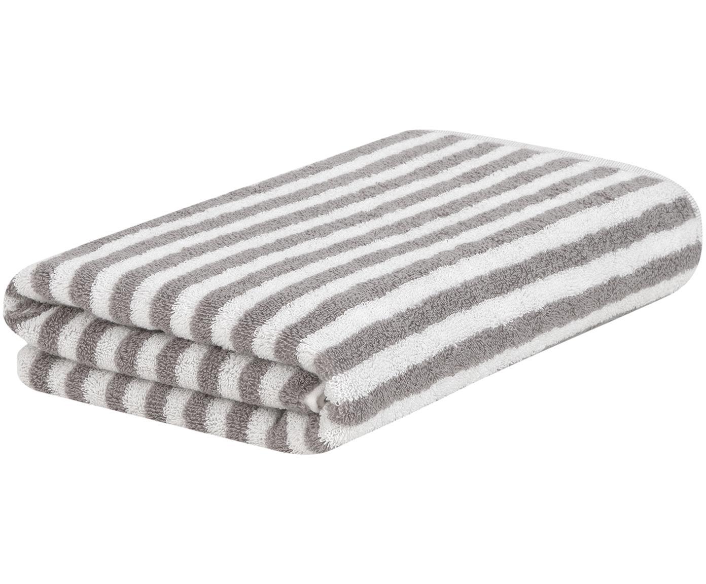 Asciugamano a righe Viola, Grigio, bianco crema, Telo bagno