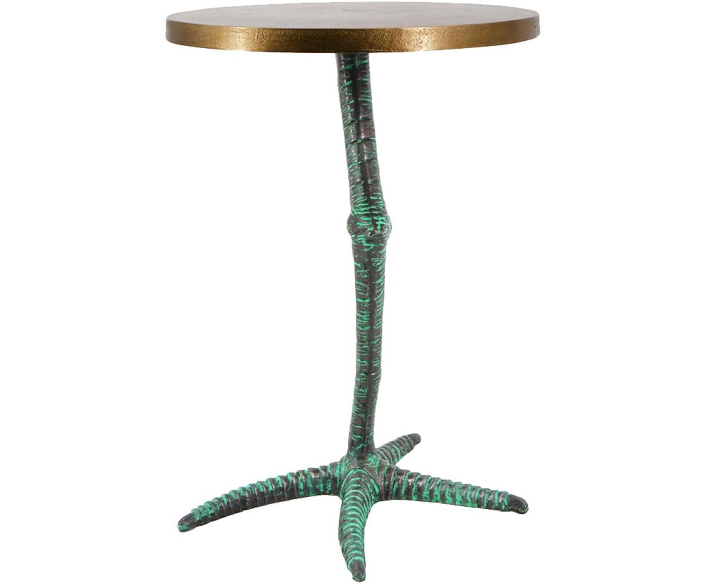 Mesa auxiliar Pajaro, Aluminio Hierro, Metal con verde óxido, dorado, Ø 35 x Al 50 cm