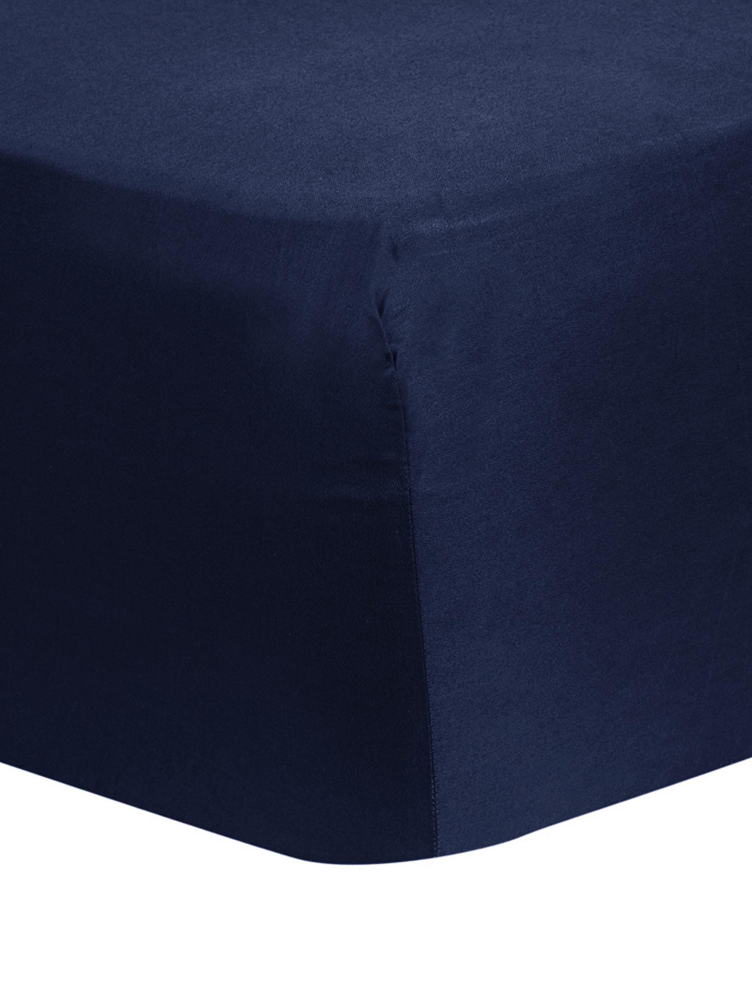 Spannbettlaken Comfort, Baumwollsatin, Webart: Satin, leicht glänzend, Dunkelblau, 180 x 200 cm