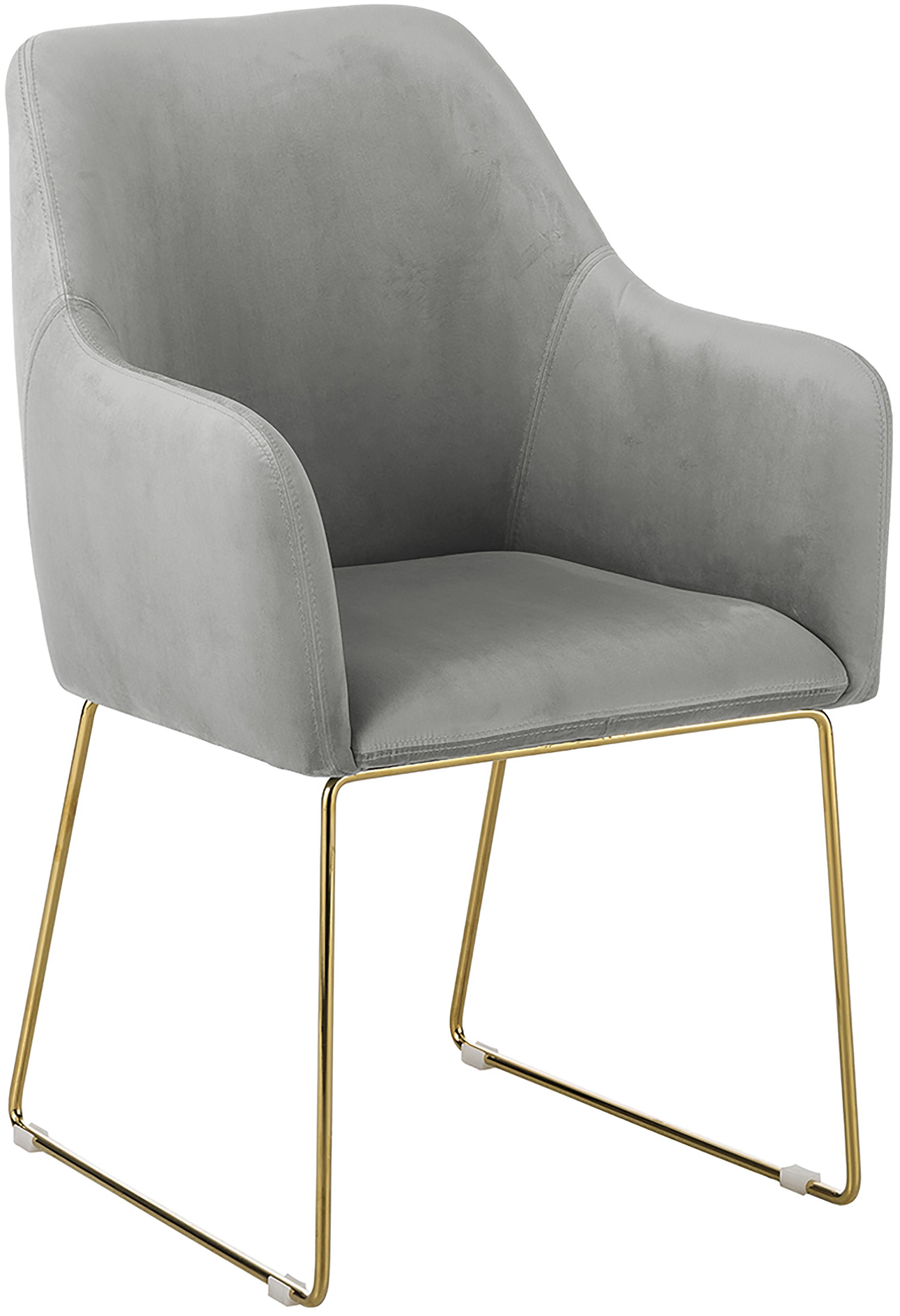 Sedia in velluto con braccioli Isla, Rivestimento: velluto (poliestere) 50.0, Gambe: metallo rivestito, Velluto grigio, gambe oro, Larg. 58 x Prof. 62 cm