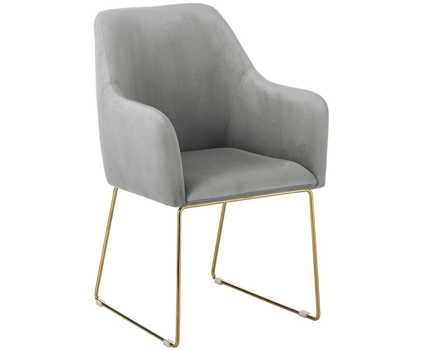 Krzesło z aksamitu z podłokietnikami Isla, Tapicerka: aksamit (poliester) 5000, Nogi: metal powlekany, Aksamitny szary, nogi: złoty, S 58 x G 62 cm
