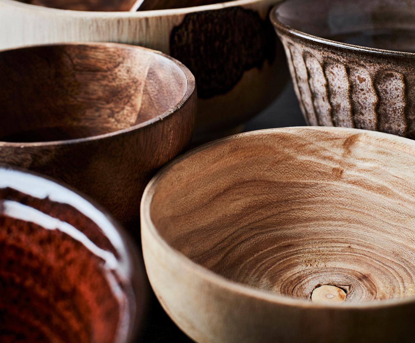 Schälchen Sandry aus Holz, Paulowniaholz, ölbehandelt, Beige, Ø 14 x H 7 cm