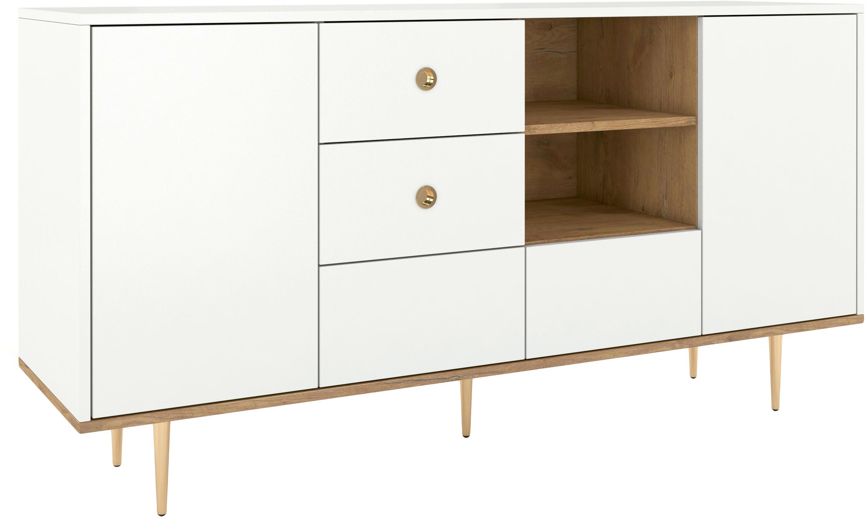 Sideboard Harmoni in Weiß, Korpus: Hochdichte Holzfaserplatt, Weiß, 160 x 83 cm