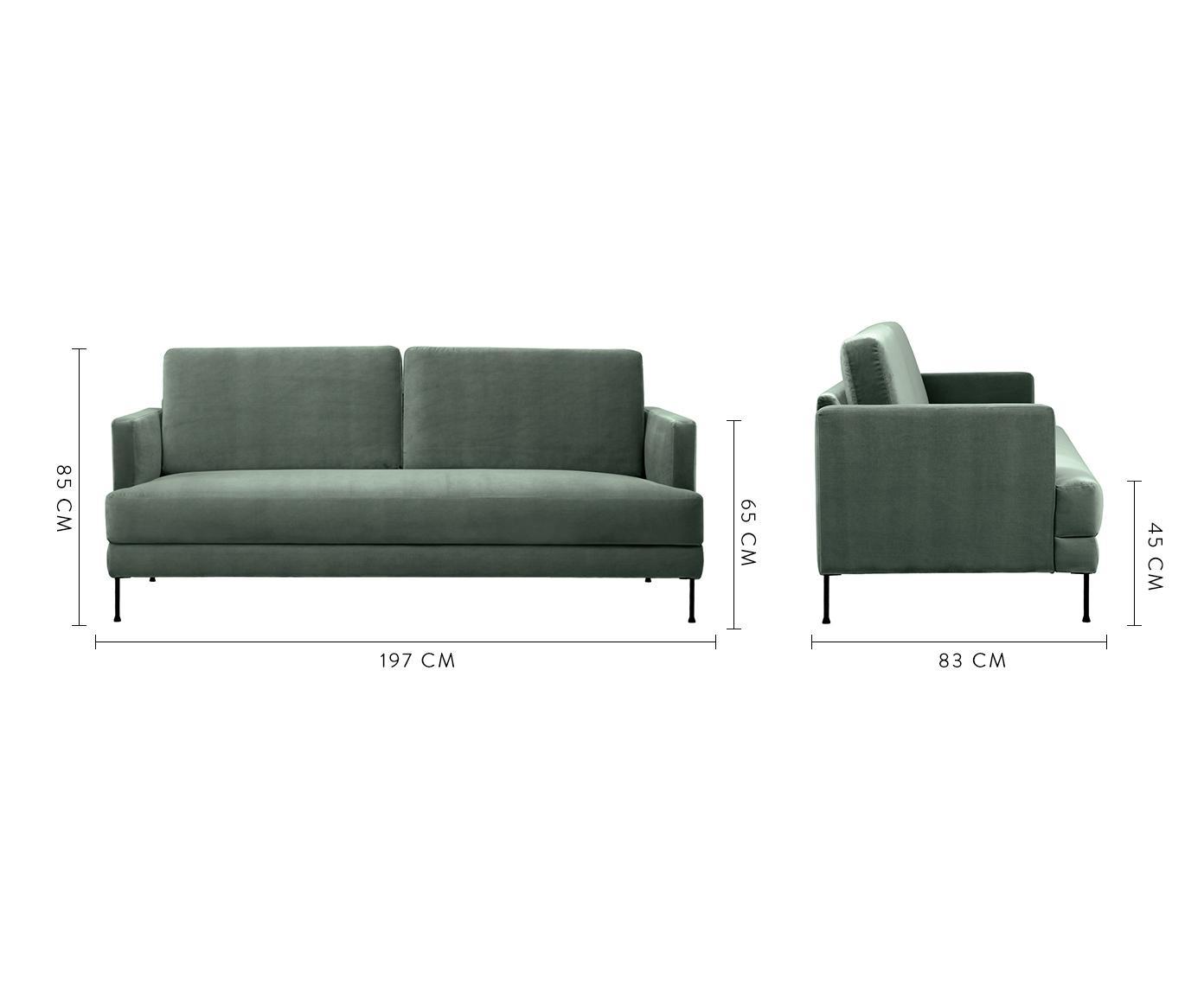 Sofa z aksamitu Fluente (3-osobowa), Tapicerka: aksamit (wysokiej jakości, Stelaż: lite drewno sosnowe, Nogi: metal lakierowany, Aksamitny zielony, S 197 x G 83 cm