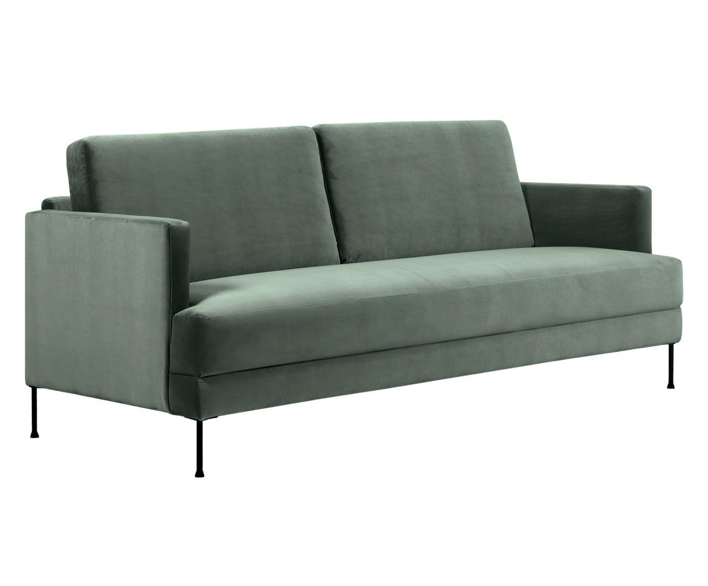 Samt-Sofa Fluente (3-Sitzer), Bezug: Samt (Hochwertiger Polyes, Gestell: Massives Kiefernholz, Füße: Metall, lackiert, Samt Grün, B 197 x T 83 cm