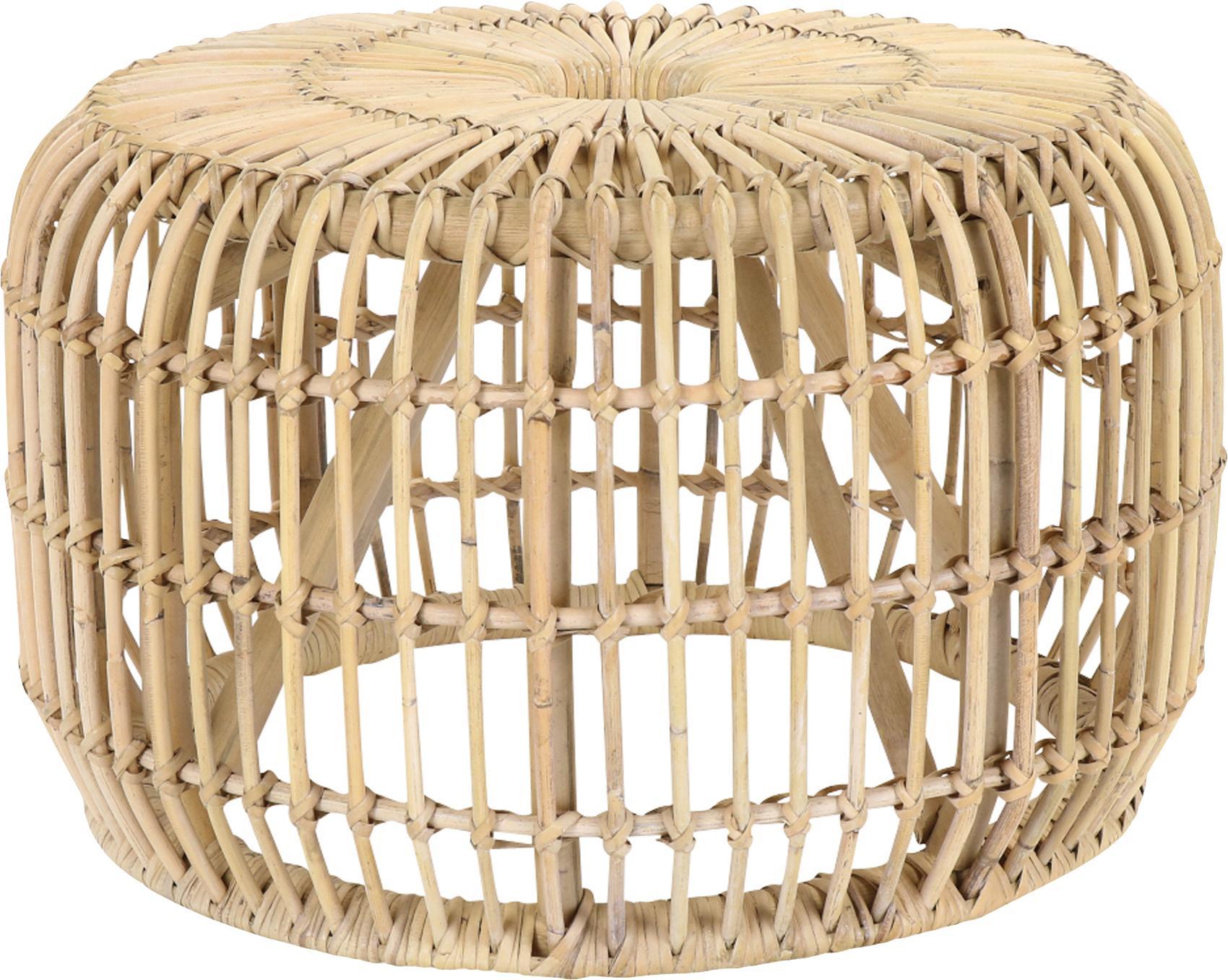 Tavolino rotondo in rattan Kim, Rattan, finitura naturale, Rattan, Ø 60 x Alt. 37 cm