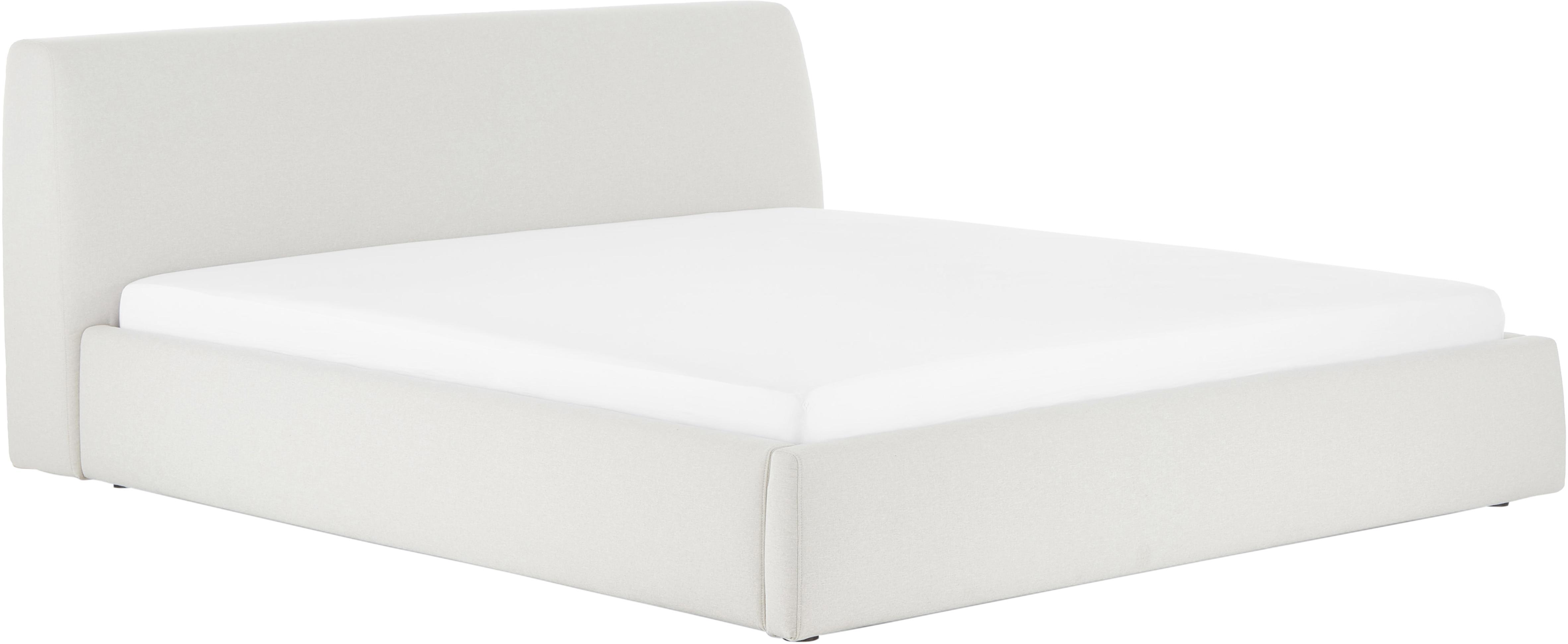 Łóżko tapicerowane Cloud, Korpus: lite drewno sosnowe, Tapicerka: poliester (materiał tekst, Beżowy, 160 x 200 cm