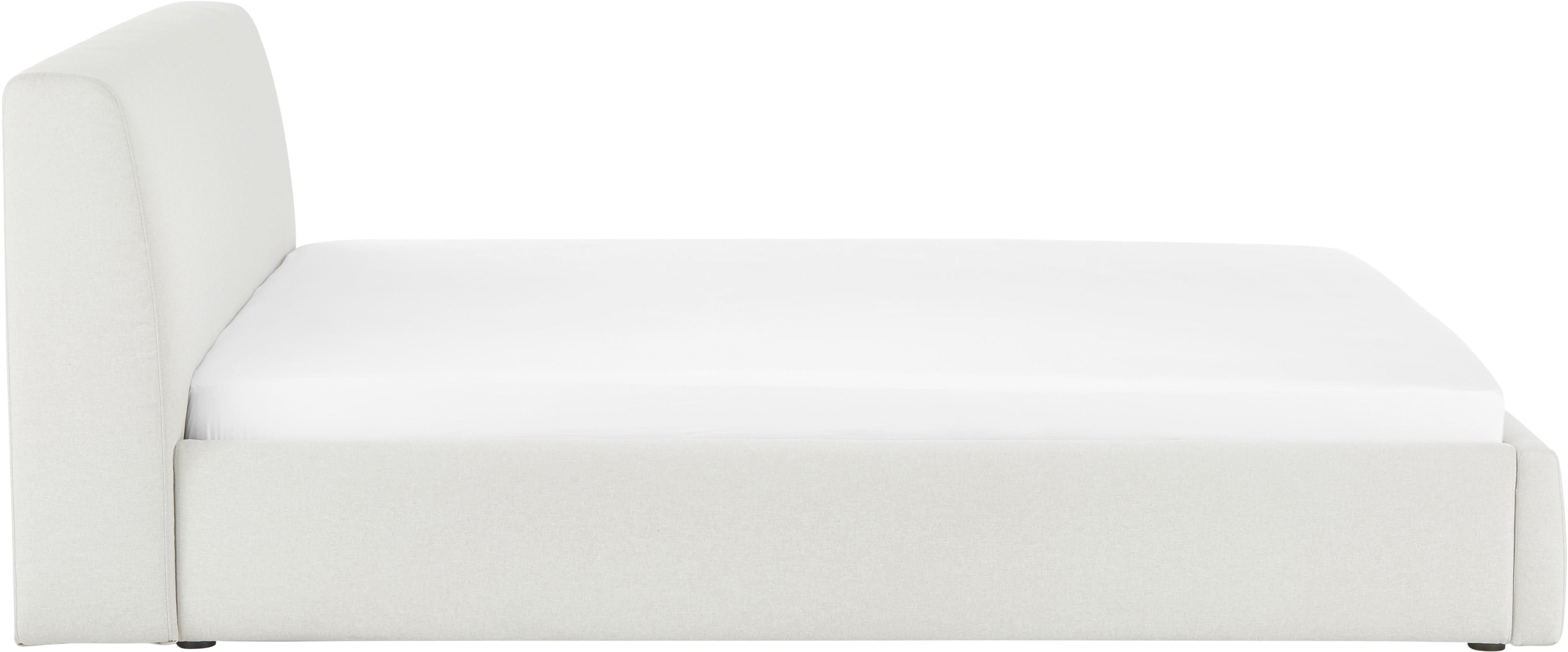Polsterbett Cloud, Korpus: Massives Kiefernholz, Bezug: Polyester (Strukturstoff), Beige, 180 x 200 cm