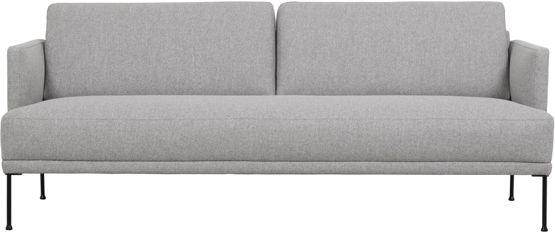 Sofa Fluente (3-Sitzer), Bezug: 80% Polyester, 20% Ramie , Gestell: Massives Kiefernholz, Füße: Metall, pulverbeschichtet, Webstoff Hellgrau, B 196 x T 85 cm