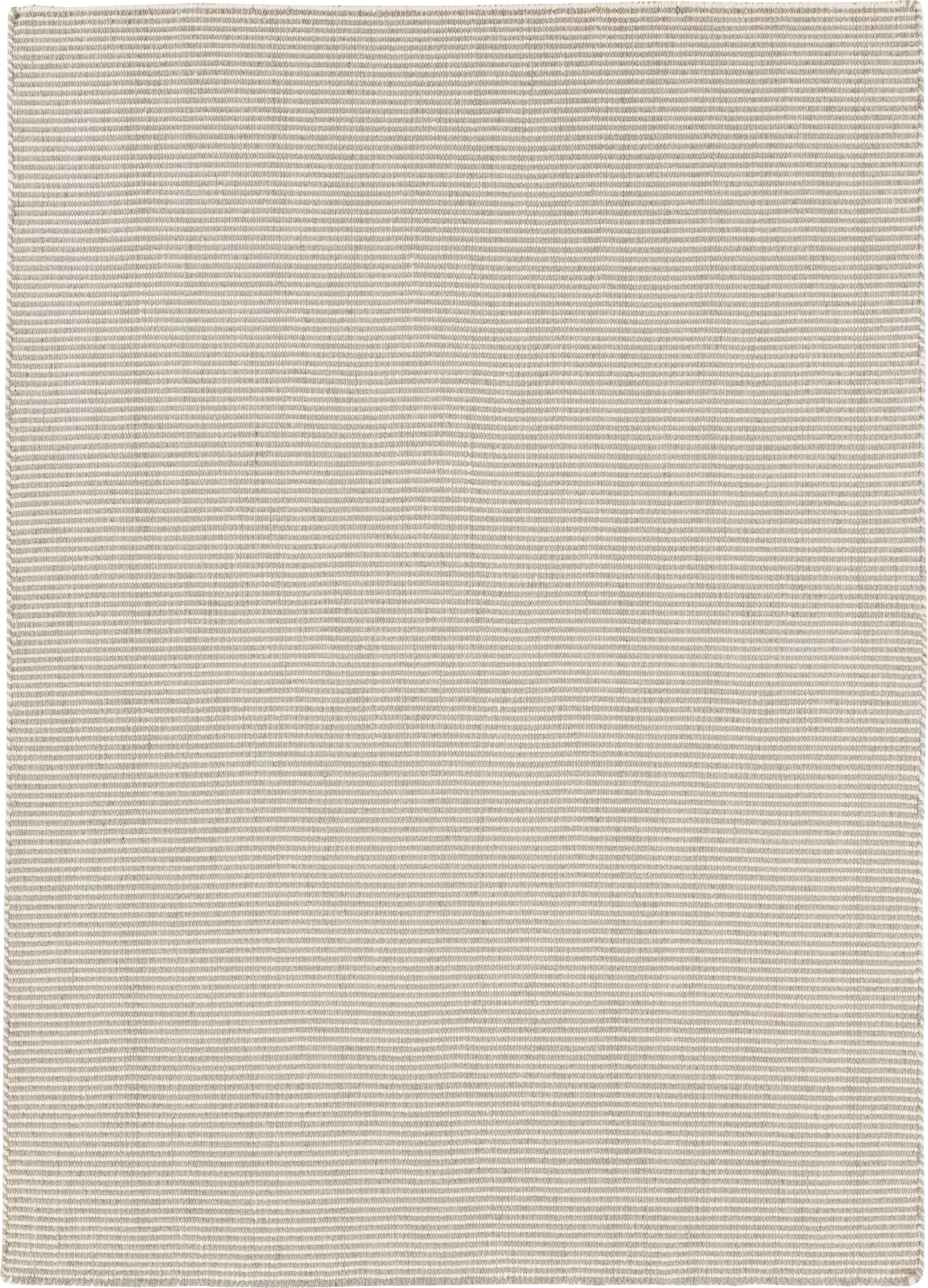 Fein gestreifter Wollteppich Ajo in Grau-Creme, handgewebt, Hellgrau, Creme, B 160 x L 230 cm (Größe M)