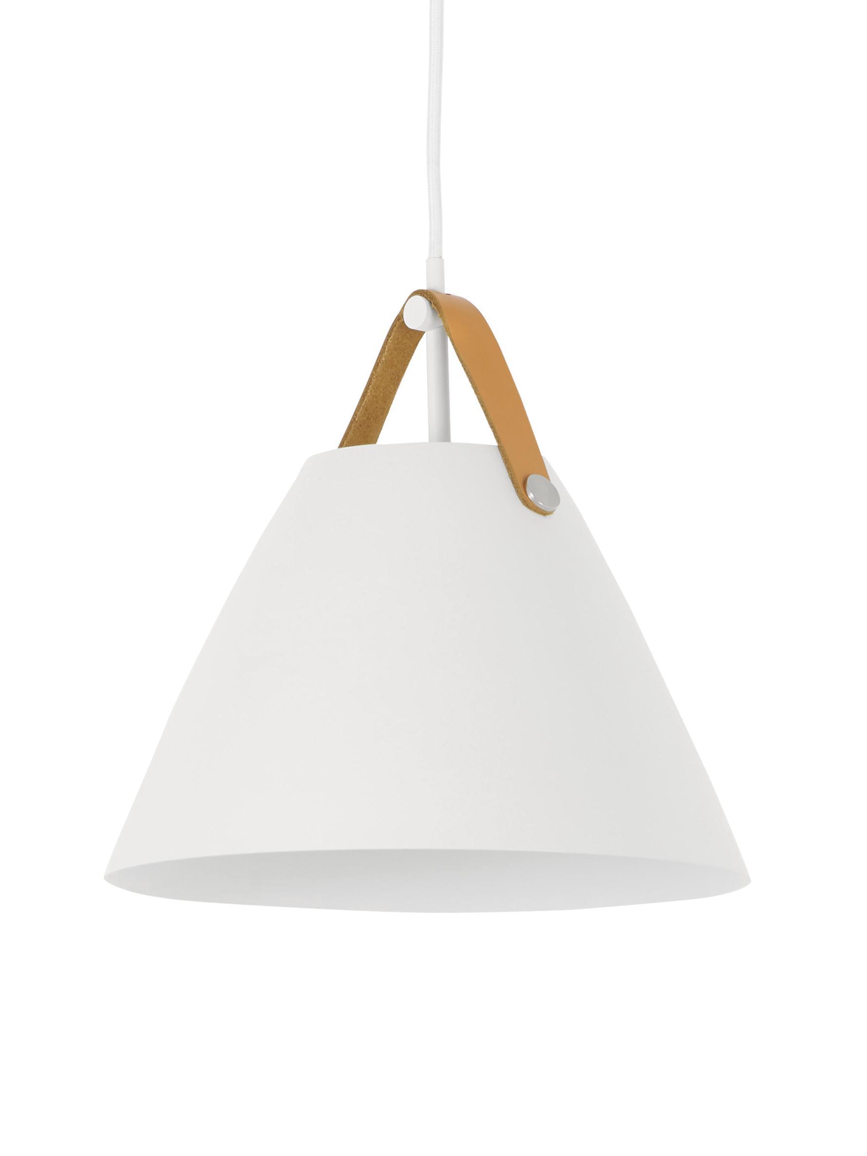 Mała lampa wisząca ze skórzanym paskiem Strap, Biały, Ø 27 x 25 cm