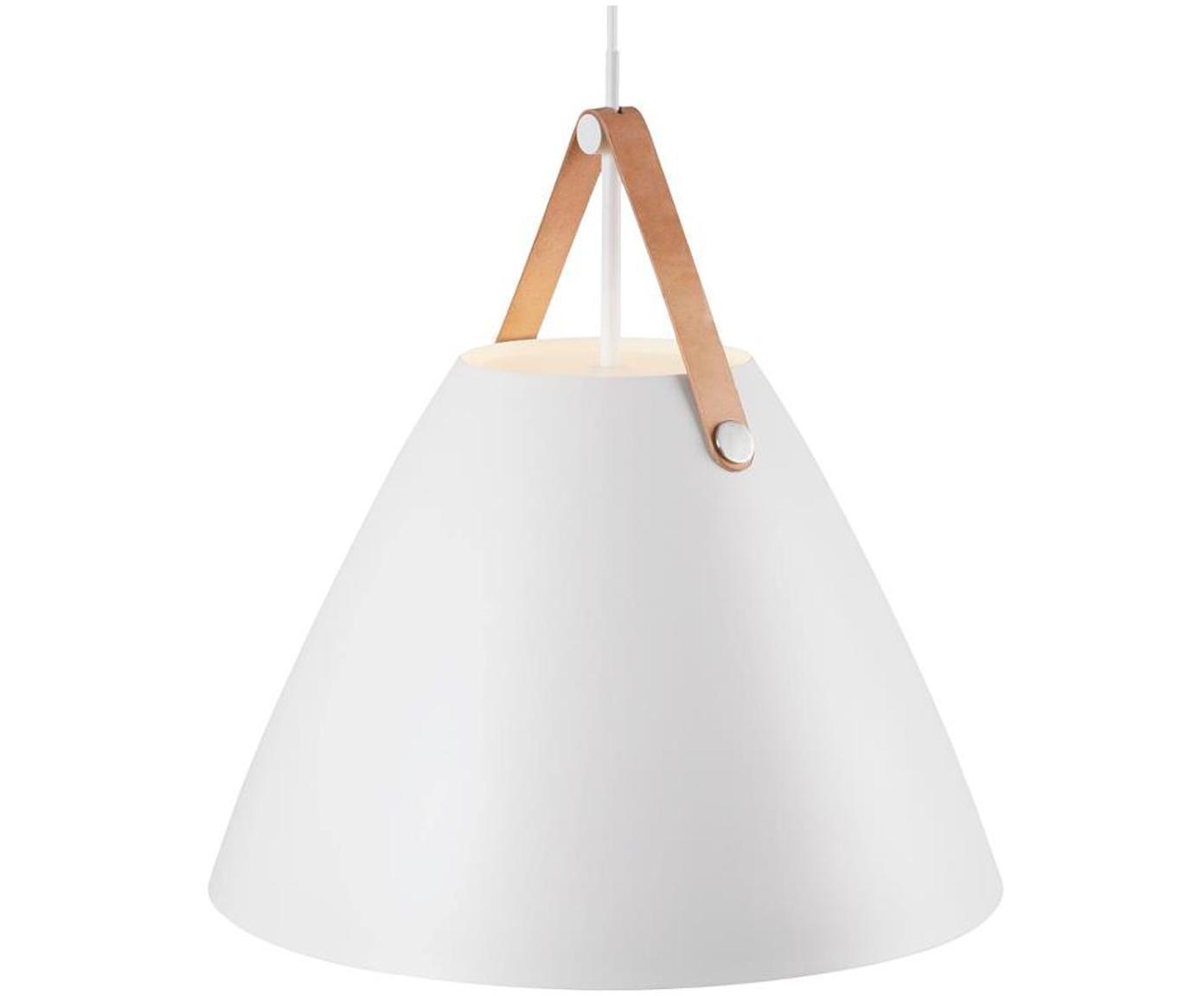 Kleine Pendelleuchte Strap mit Lederband, Lampenschirm: Metall, pulverbeschichtet, Baldachin: Kunststoff, Weiß, Ø 27 x H 25 cm