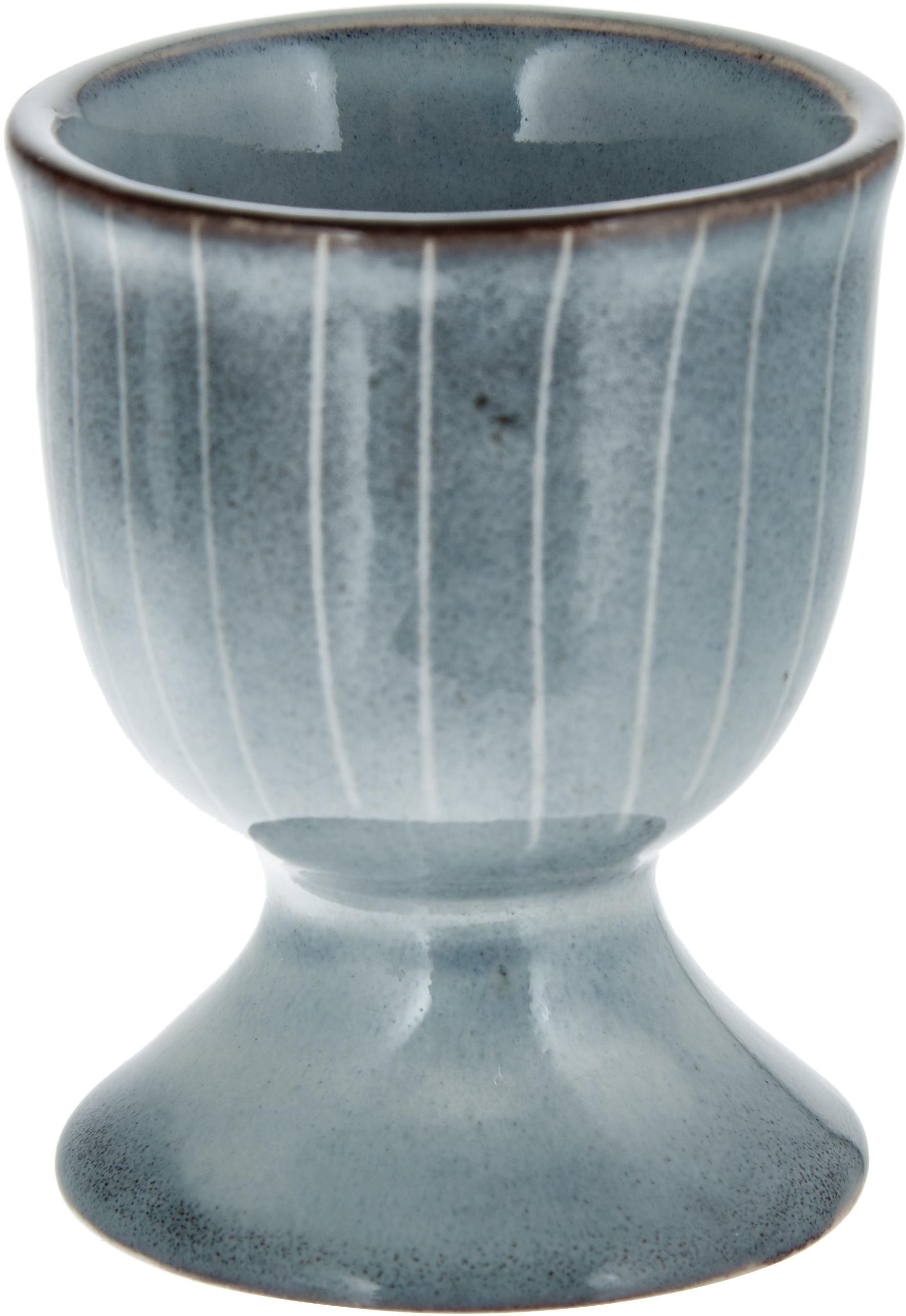 Ręcznie wykonany kieliszek do jajek z kamionki Nordic Sea, 2szt., Kamionka, Szary i odcienie niebieskiego, Ø 5 x W 6 cm