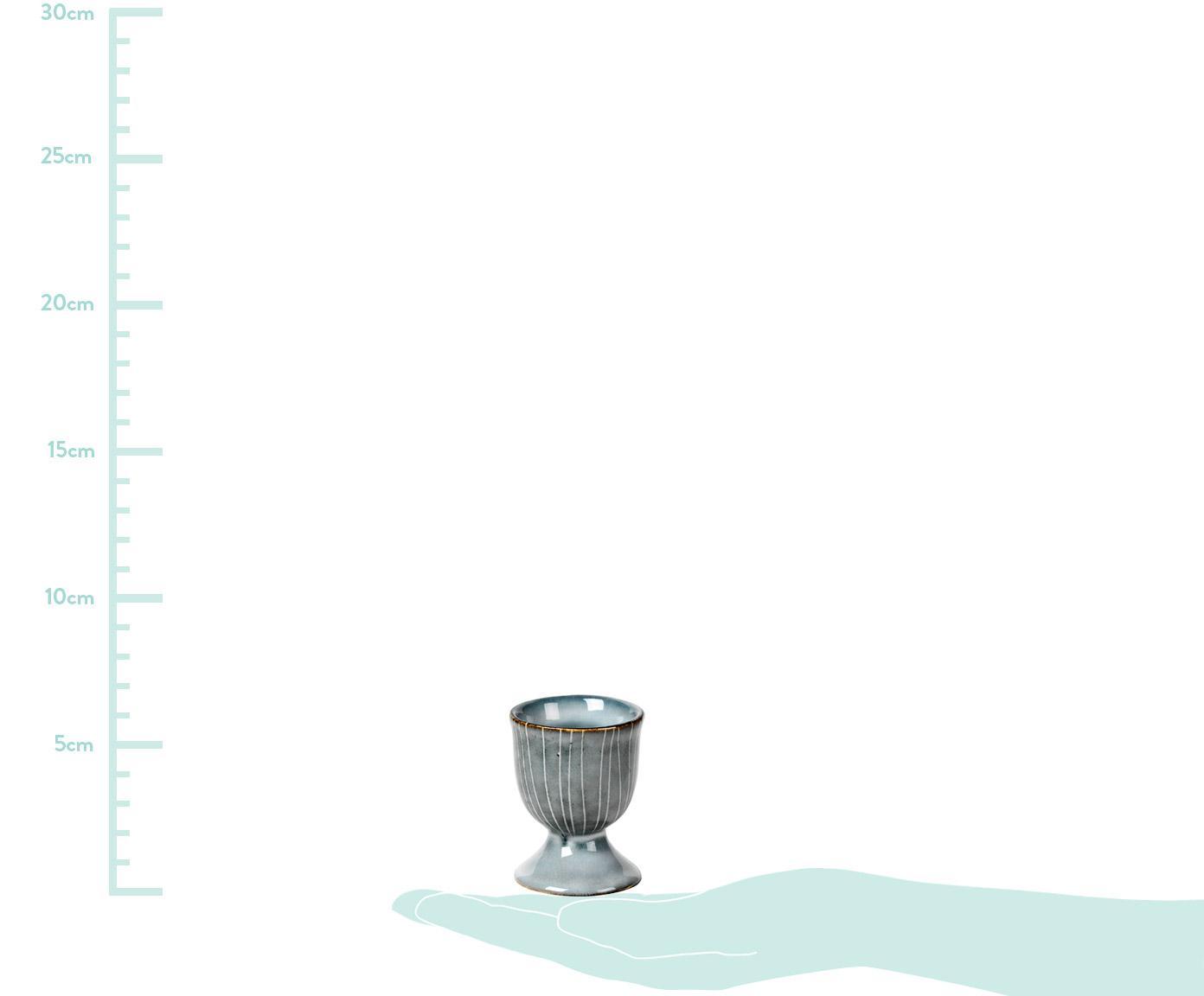 Portauova in terracotta fatto a mano Nordic Sea 2 pz, Terracotta, Grigio e tonalità blu, Ø 5 x Alt. 6 cm