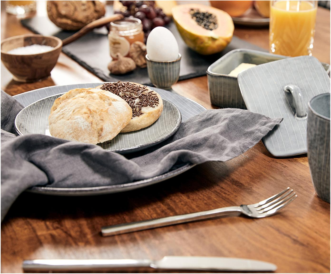 Ręcznie wykonany kieliszek do jajek Nordic Sea, 2szt., Kamionka, Szary i odcienie niebieskiego, Ø 5 x W 6 cm