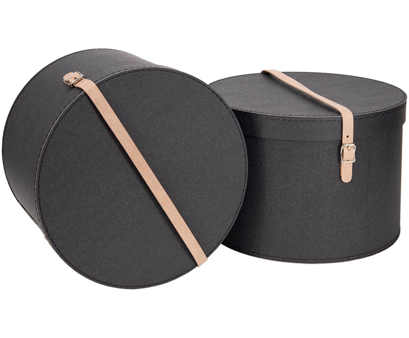 Aufbewahrungsboxen-Set Rut, 2-tlg., Box: Fester Karton, mit Holzde, Griff: Leder, Metall, Box aussen: SchwarzBox innen: SchwarzGriff: Beige, Verschiedene Grössen