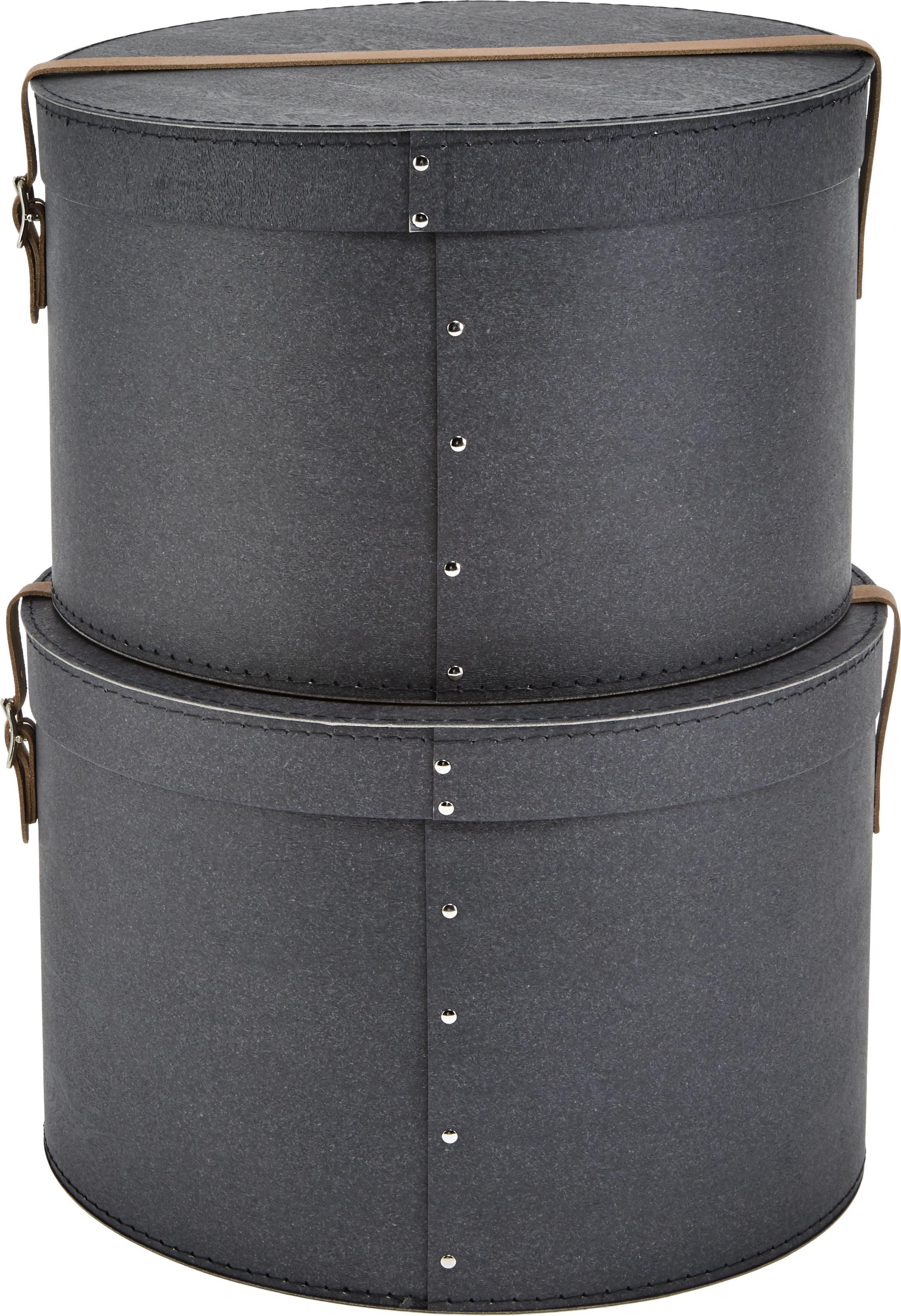 Aufbewahrungsboxen-Set Rut, 2-tlg., Box: Fester Karton, mit Holzde, Griff: Leder, Metall, Box außen: SchwarzBox innen: SchwarzGriff: Beige, Sondergrößen