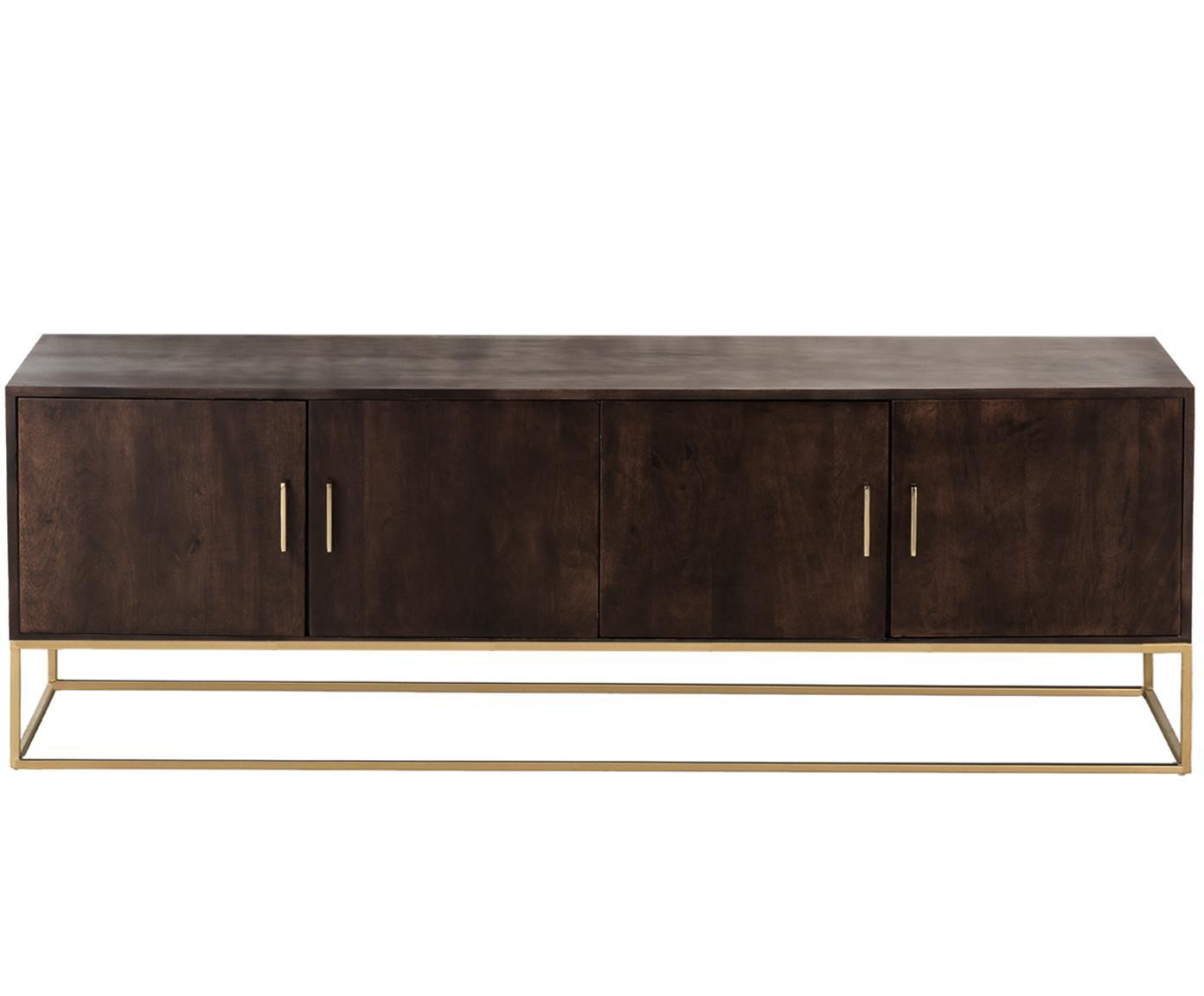 Tv-meubel Lyle met deuren van massief hout, Mangohout, donker gelakt, 180 x 60 cm