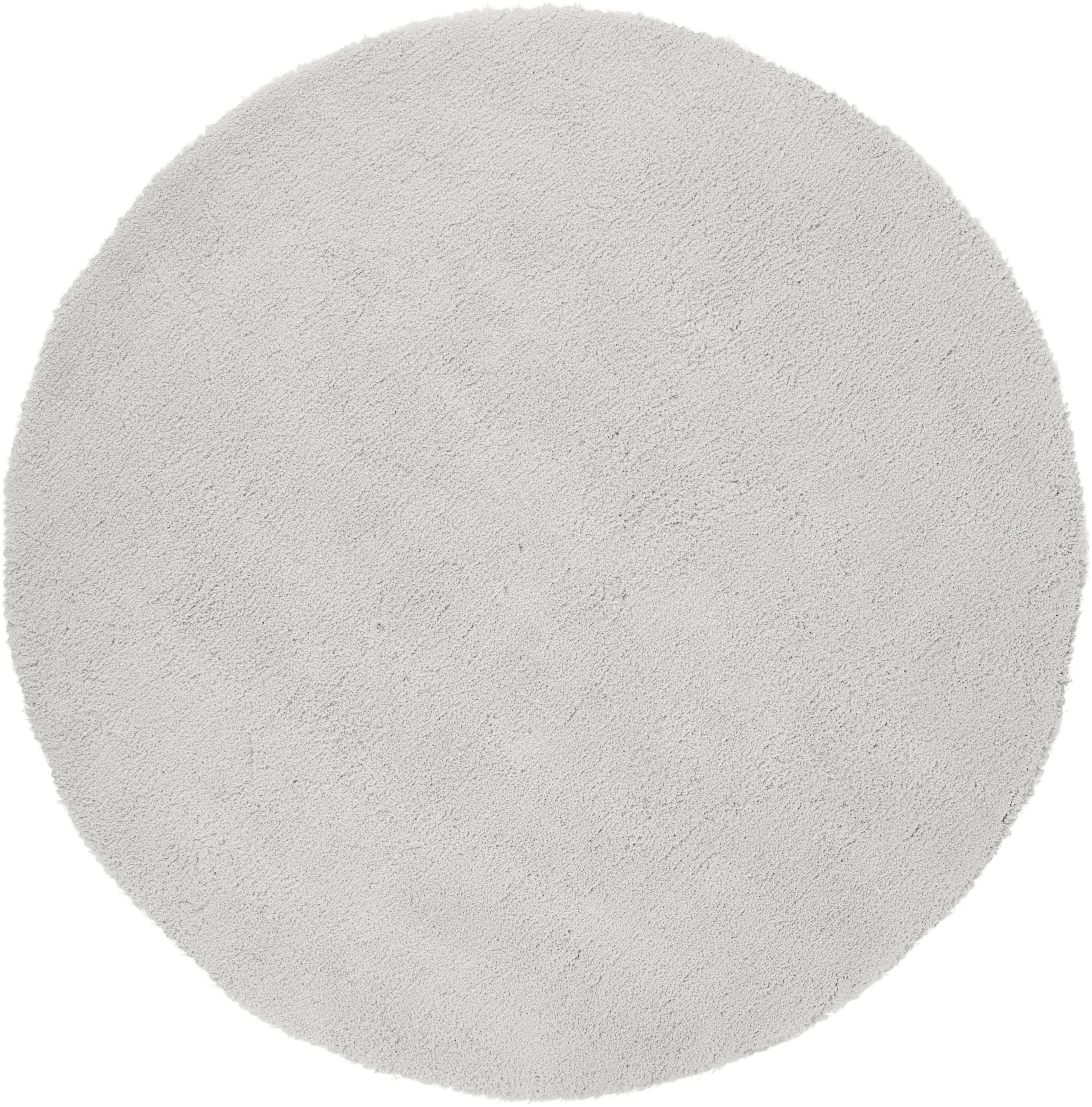 Pluizig rond hoogpolig vloerkleed Leighton in lichtgrijs, Bovenzijde: 100% polyester (microveze, Onderzijde: 70% polyester, 30% katoen, Lichtgrijs, Ø 200 cm (maat L)