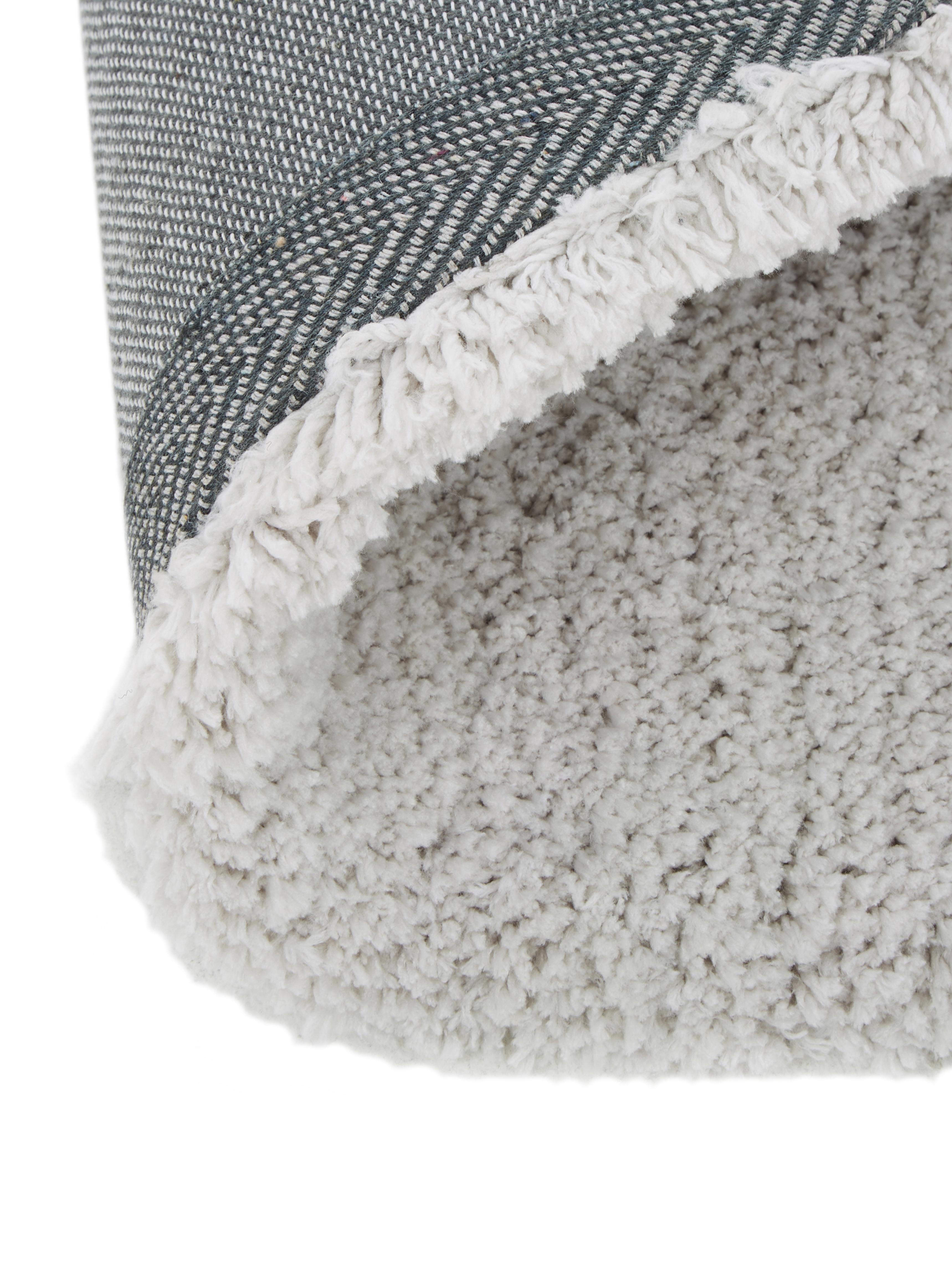 Flauschiger runder Hochflor-Teppich Leighton in Hellgrau, Flor: 100% Polyester (Mikrofase, Hellgrau, Ø 200 cm (Größe L)