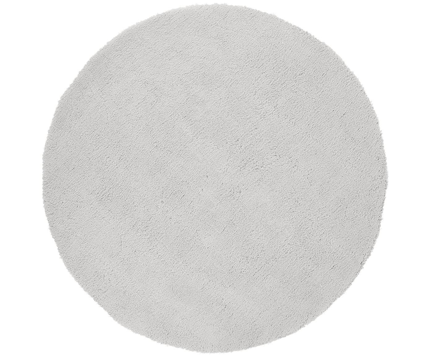 Alfombra redonda de pelo largo Leighton, Parte superior: 100%poliéster (microfibr, Reverso: 100%poliéster, Gris claro, Ø 200 cm (Tamaño L)