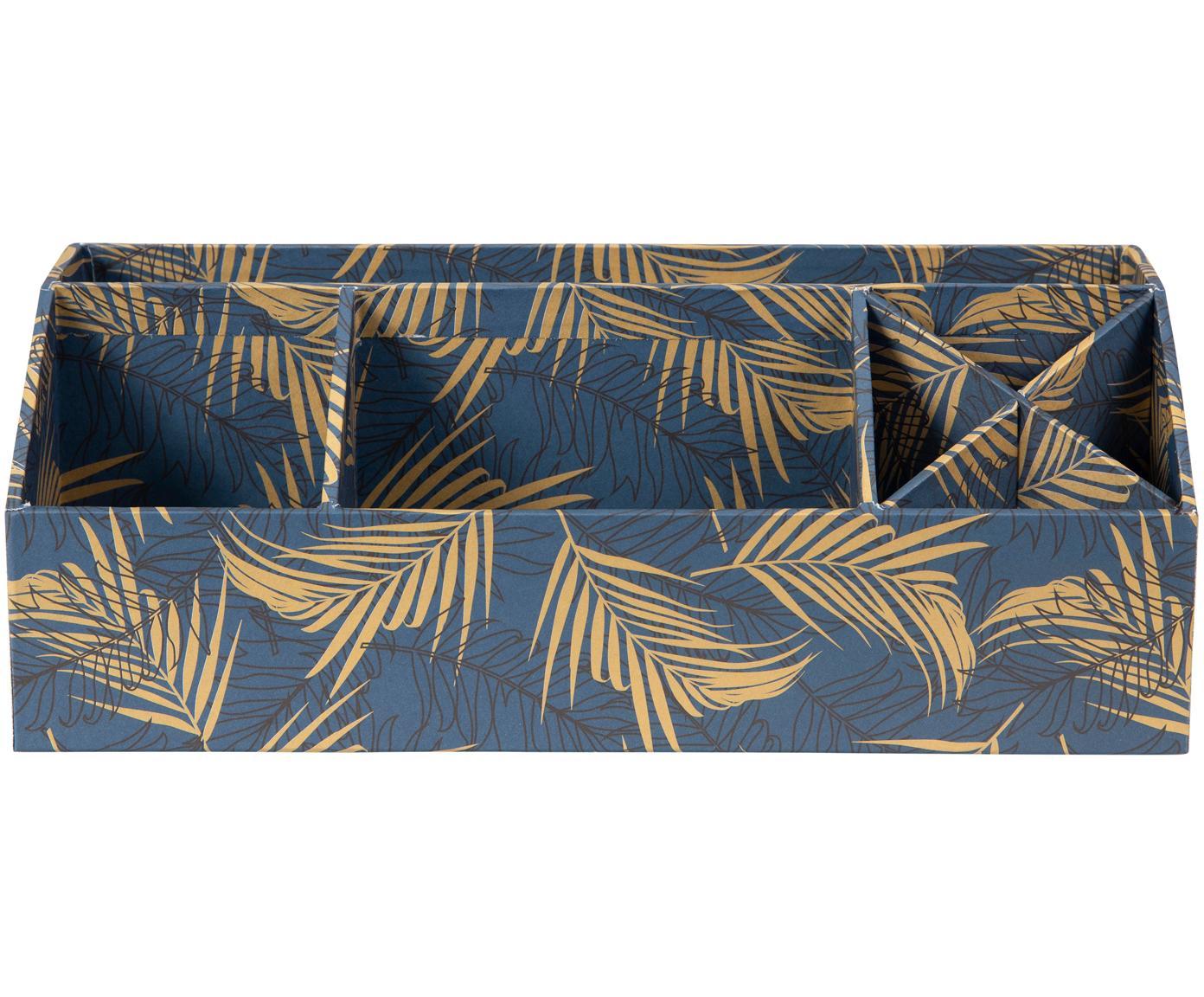 Bureau organizer Elisa, Massief, gelamineerd karton, Goudkleurig, grijsblauw, 33 x 13 cm