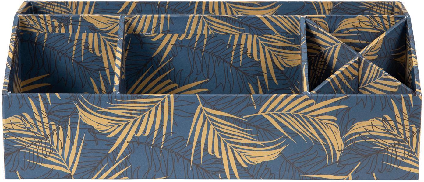 Büro-Organizer Elisa, Fester, laminierter Karton, Goldfarben, Graublau, 33 x 13 cm