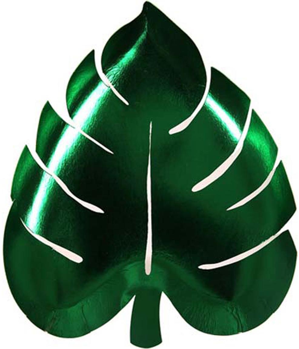 Papier-Teller Palm Leaf, 8 Stück, Papier, foliert, Grün, B 23 x T 19 cm