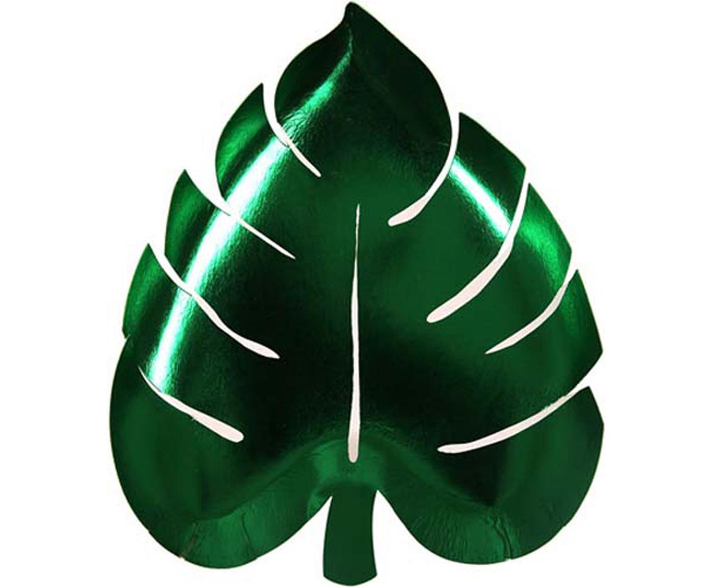 Papieren borden Palm Leaf, 8 stuks, Gecoat papier, Groen, B 23 x D 19 cm